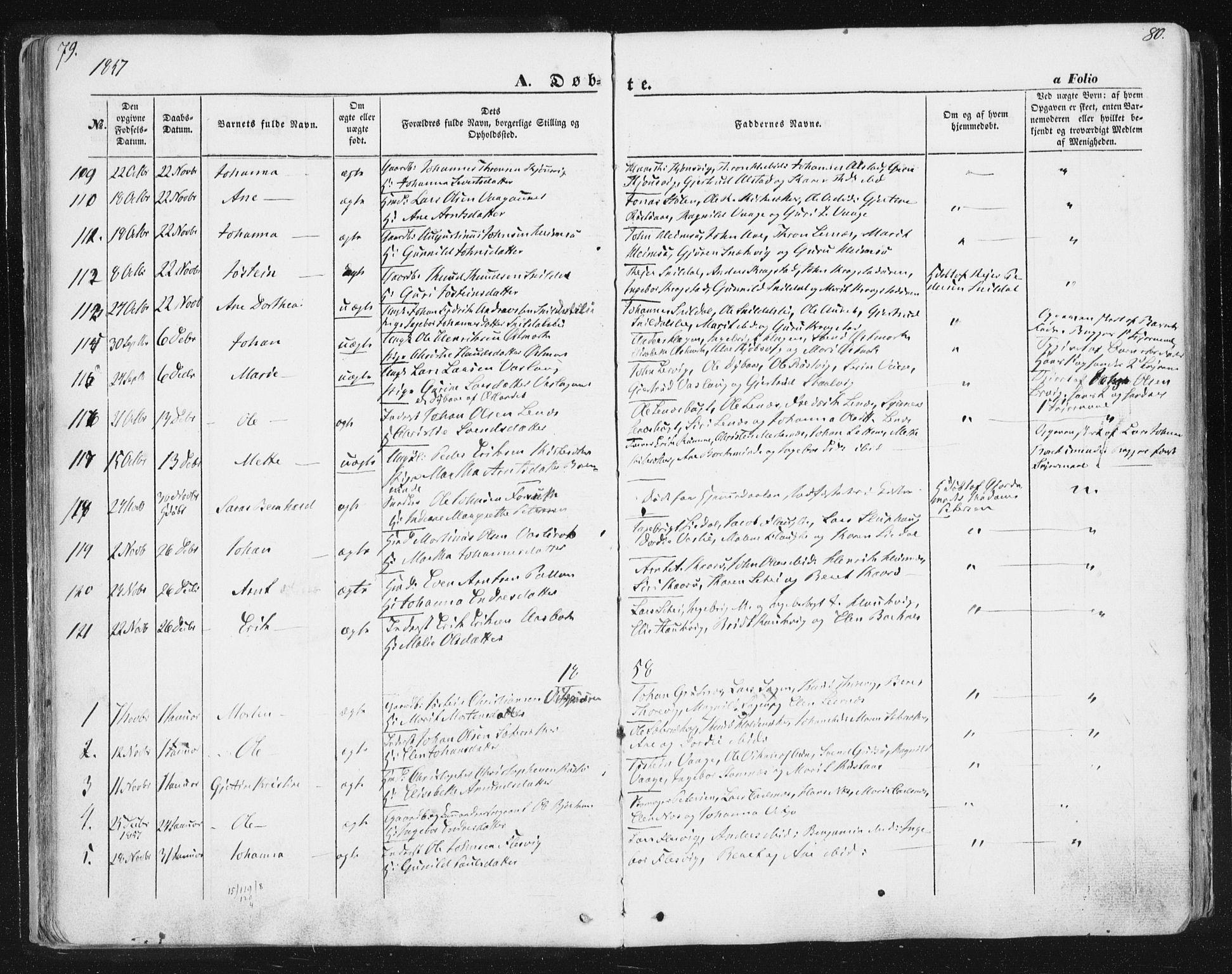 SAT, Ministerialprotokoller, klokkerbøker og fødselsregistre - Sør-Trøndelag, 630/L0494: Ministerialbok nr. 630A07, 1852-1868, s. 79-80
