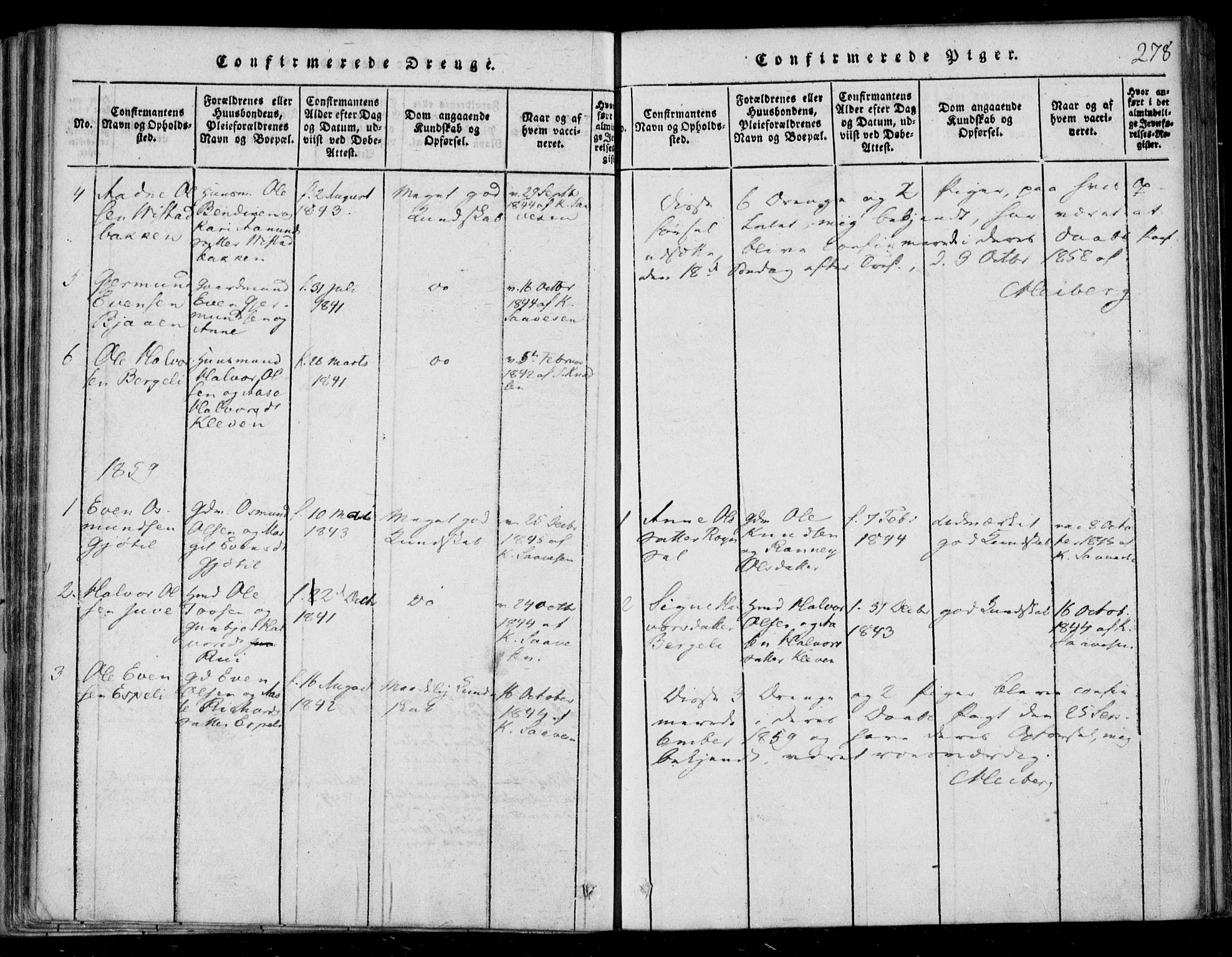 SAKO, Lårdal kirkebøker, F/Fb/L0001: Ministerialbok nr. II 1, 1815-1860, s. 278