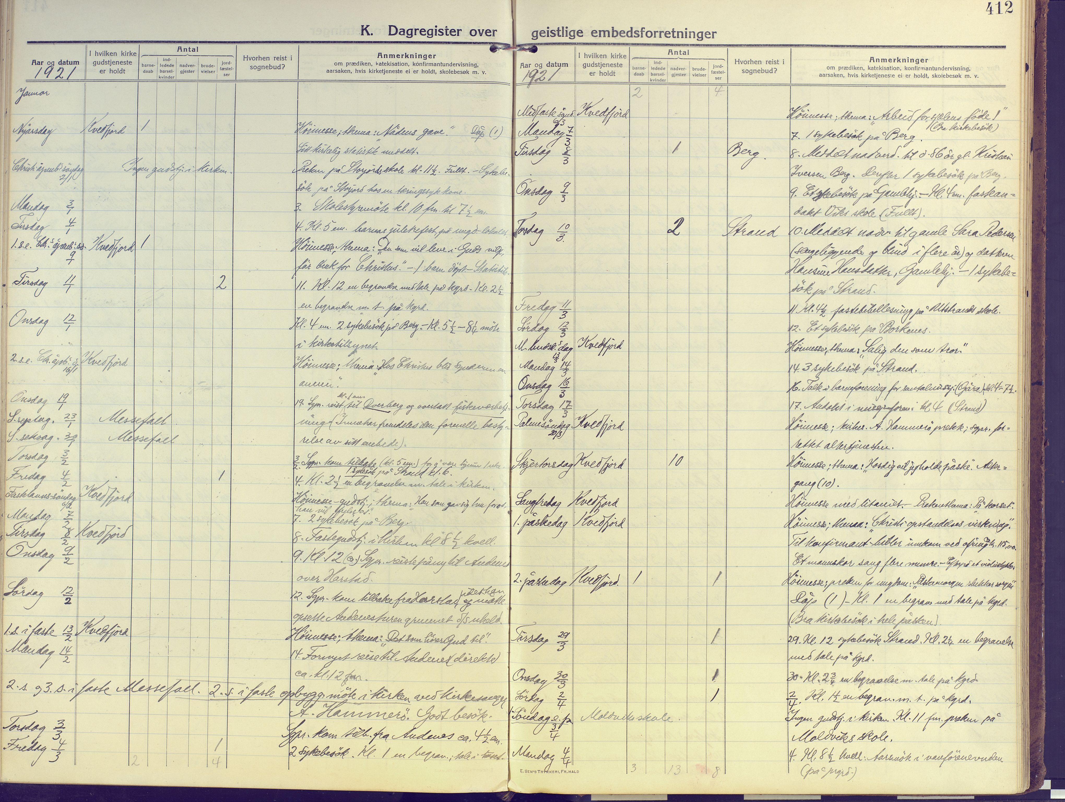 SATØ, Kvæfjord sokneprestkontor, G/Ga/Gaa/L0007kirke: Ministerialbok nr. 7, 1915-1931, s. 412