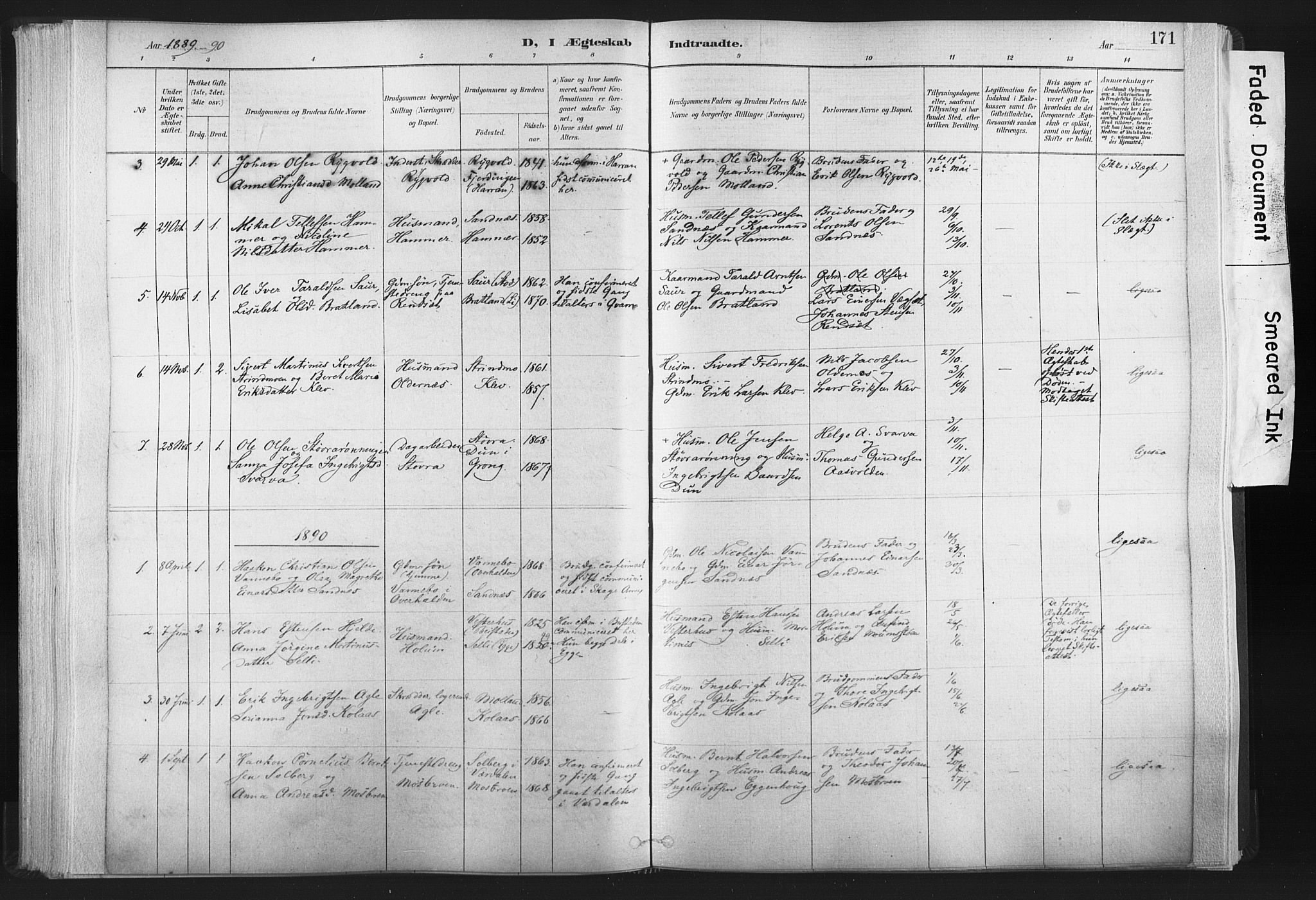 SAT, Ministerialprotokoller, klokkerbøker og fødselsregistre - Nord-Trøndelag, 749/L0474: Ministerialbok nr. 749A08, 1887-1903, s. 171