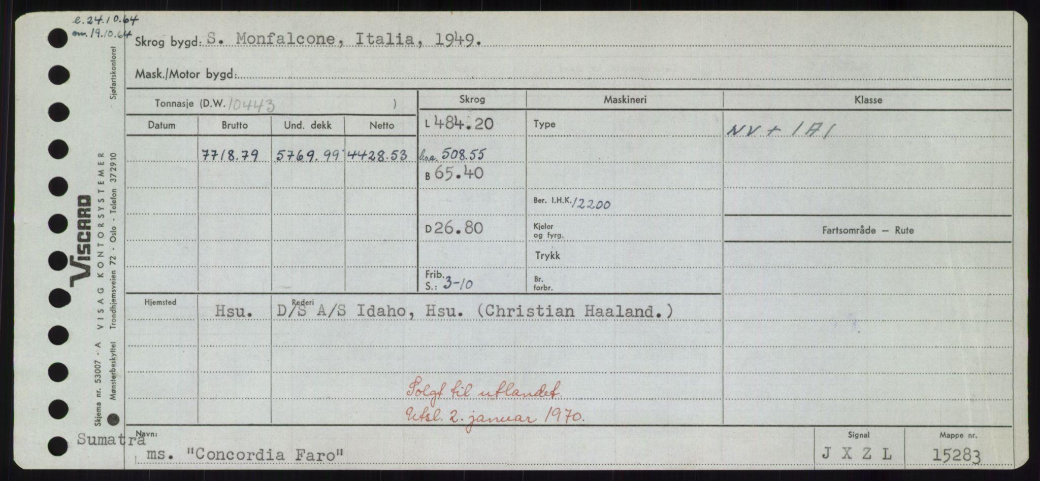 RA, Sjøfartsdirektoratet med forløpere, Skipsmålingen, H/Hd/L0008: Fartøy, C-D, s. 155