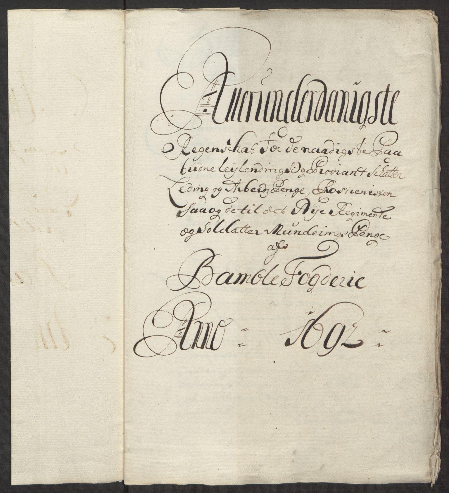 RA, Rentekammeret inntil 1814, Reviderte regnskaper, Fogderegnskap, R34/L2052: Fogderegnskap Bamble, 1692-1693, s. 152