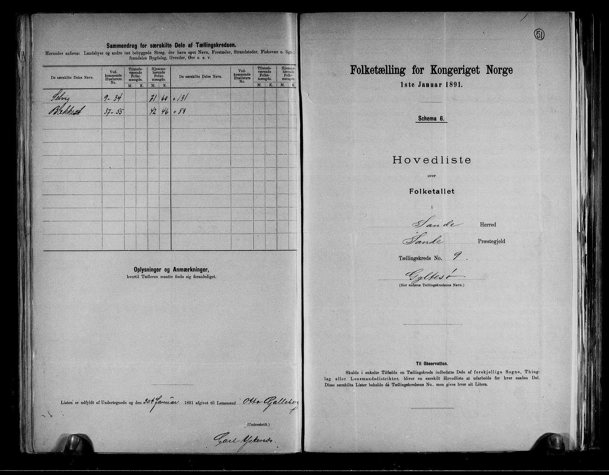 RA, Folketelling 1891 for 0713 Sande herred, 1891, s. 20