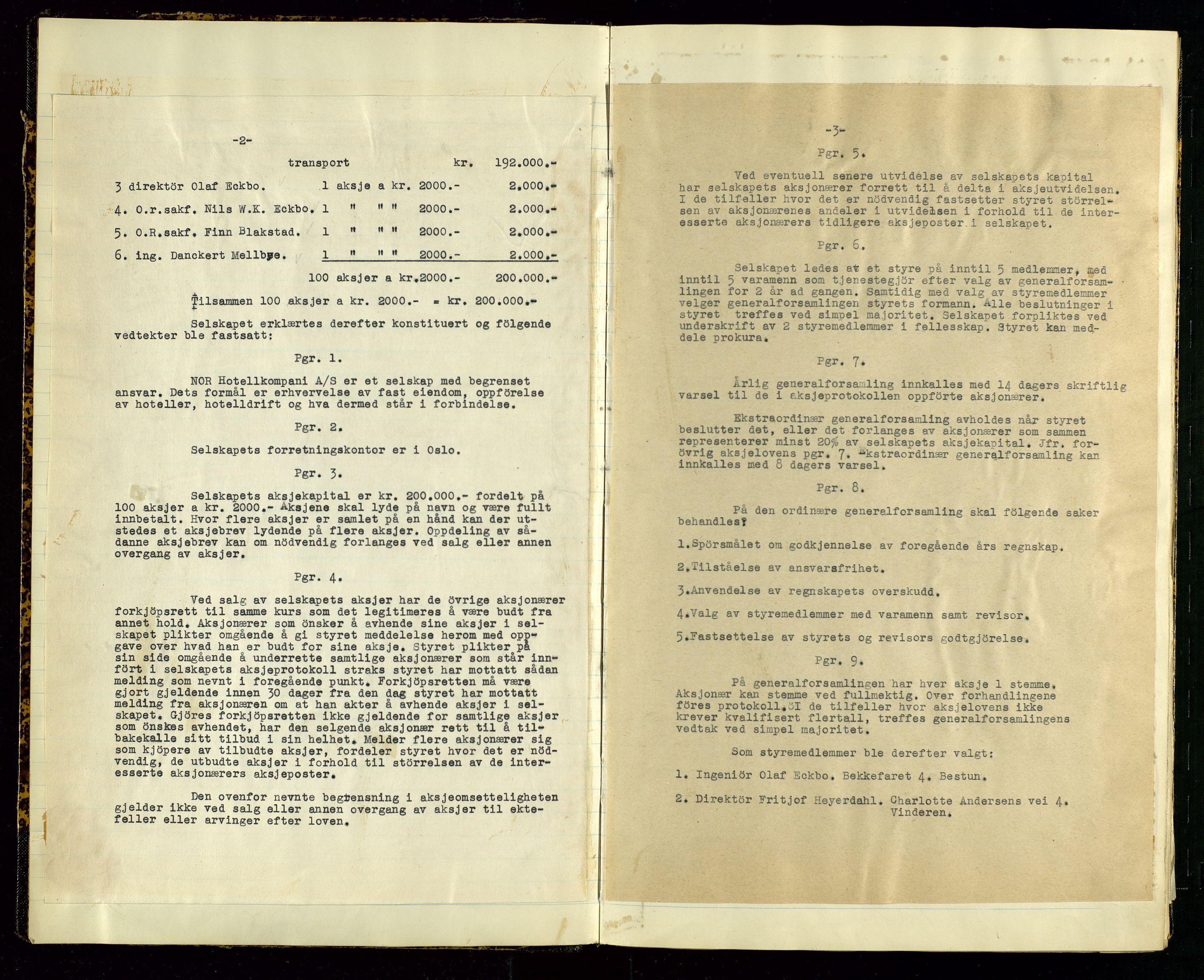 SAST, PA 1516 - Nor Hotellkompani A/S, A/L0001: Referatprotokoll, 1948-1855, s. 3