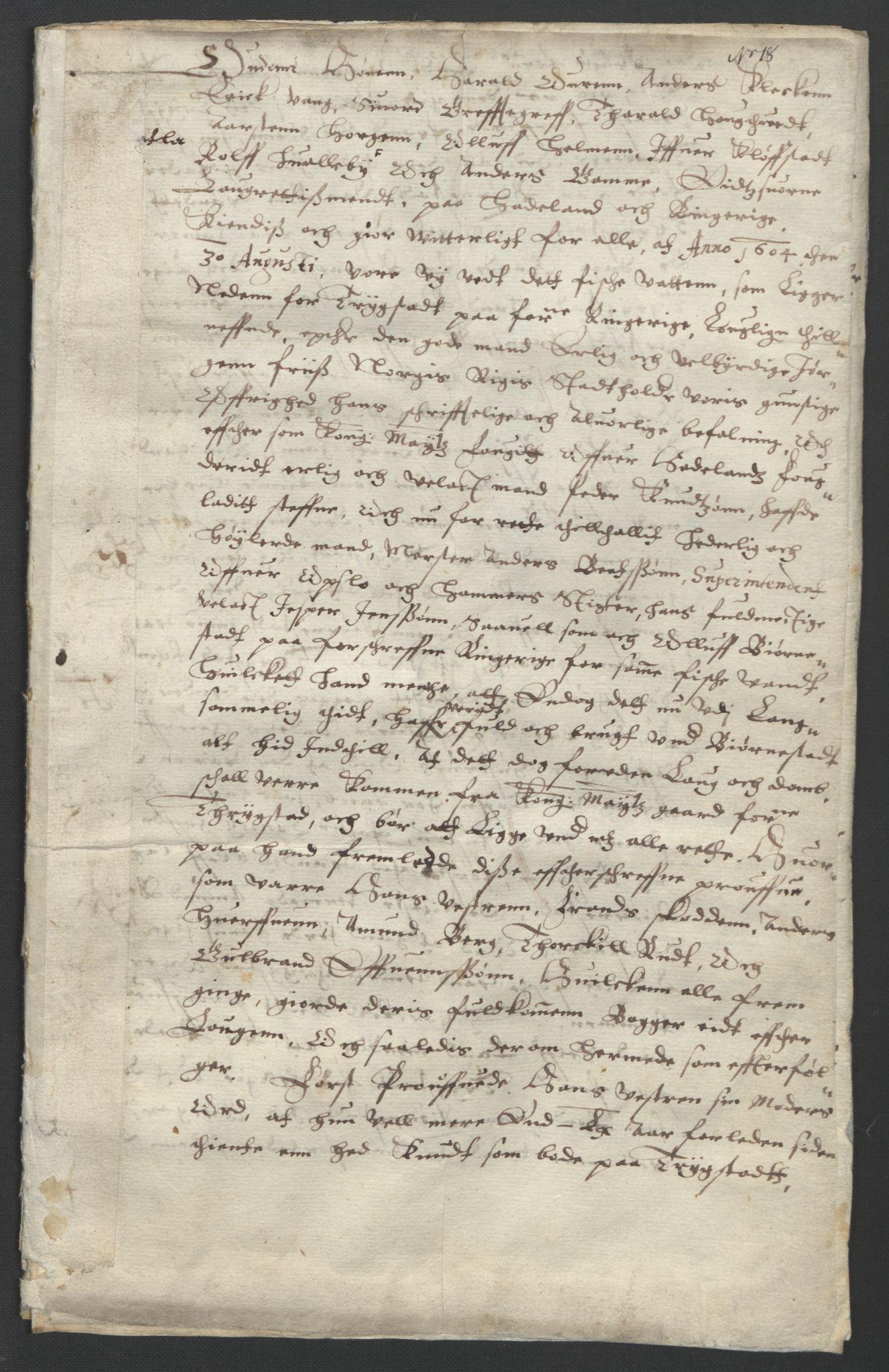 SAO, Oslo stiftsdireksjon, G/Gb/L0001: Bispestolens dokumenter, 1584-1612, s. 18