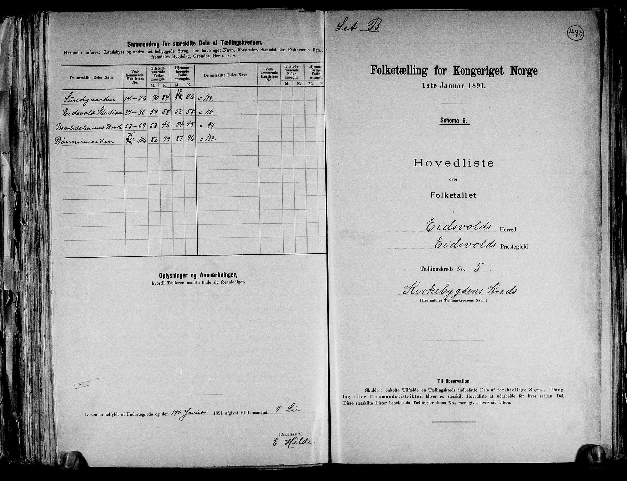 RA, Folketelling 1891 for 0237 Eidsvoll herred, 1891, s. 17