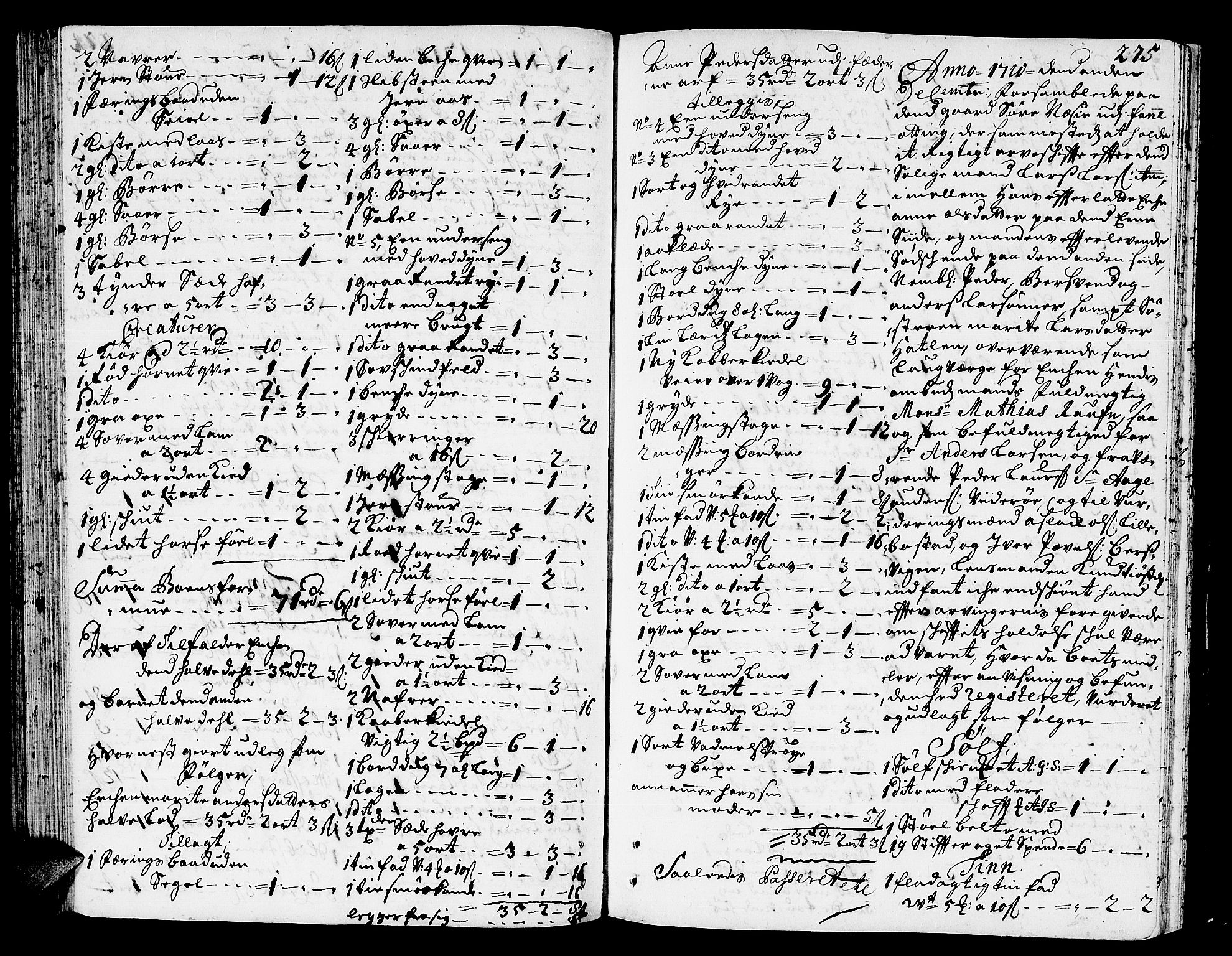 SAT, Romsdal sorenskriveri, 3/3A/L0005: Skifteprotokoll, 1707-1711, s. 274b-275a