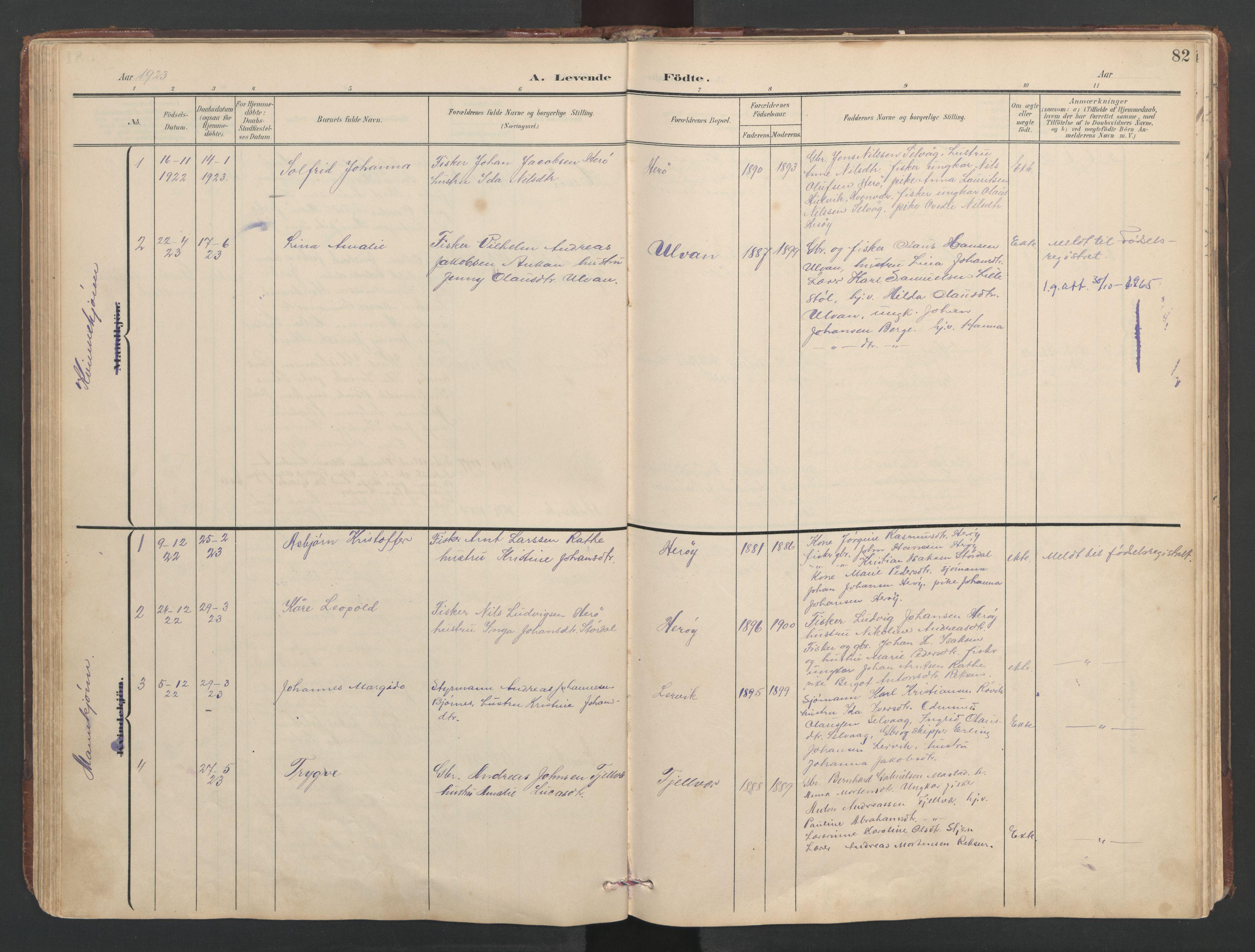 SAT, Ministerialprotokoller, klokkerbøker og fødselsregistre - Sør-Trøndelag, 638/L0571: Klokkerbok nr. 638C03, 1901-1930, s. 82