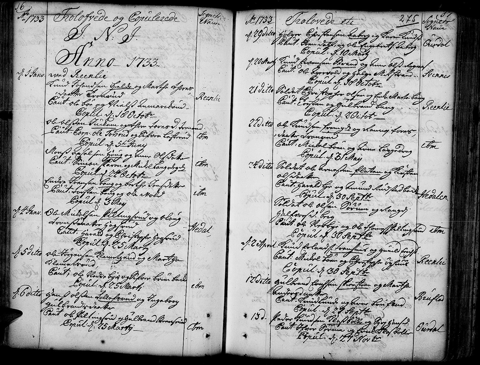 SAH, Aurdal prestekontor, Ministerialbok nr. 4, 1730-1762, s. 16-17