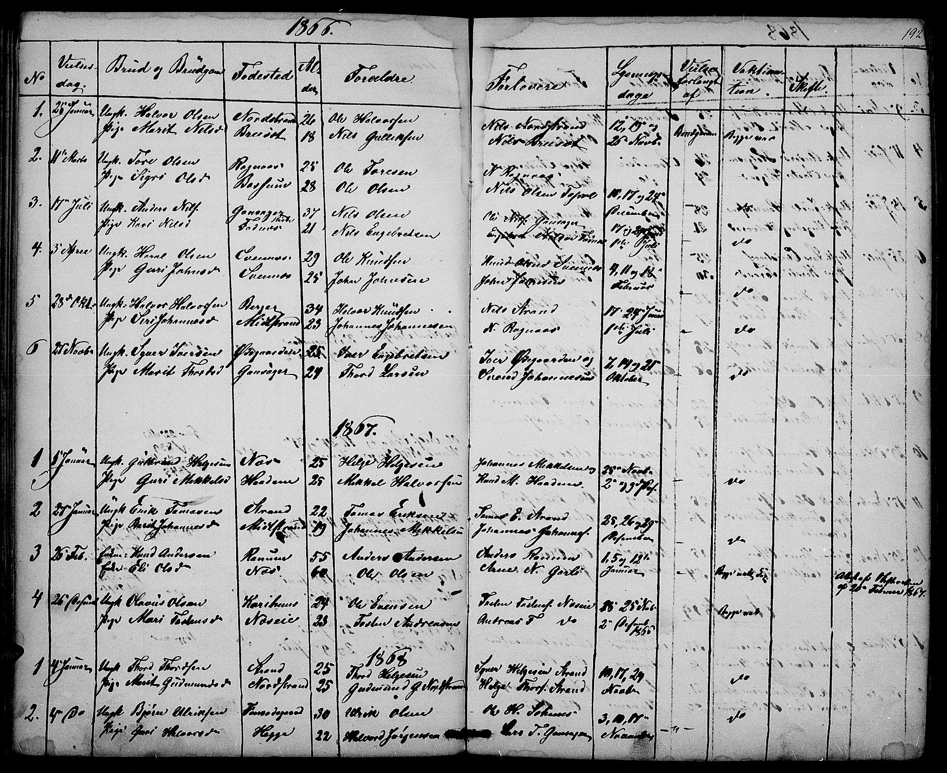 SAH, Nord-Aurdal prestekontor, Klokkerbok nr. 3, 1842-1882, s. 192