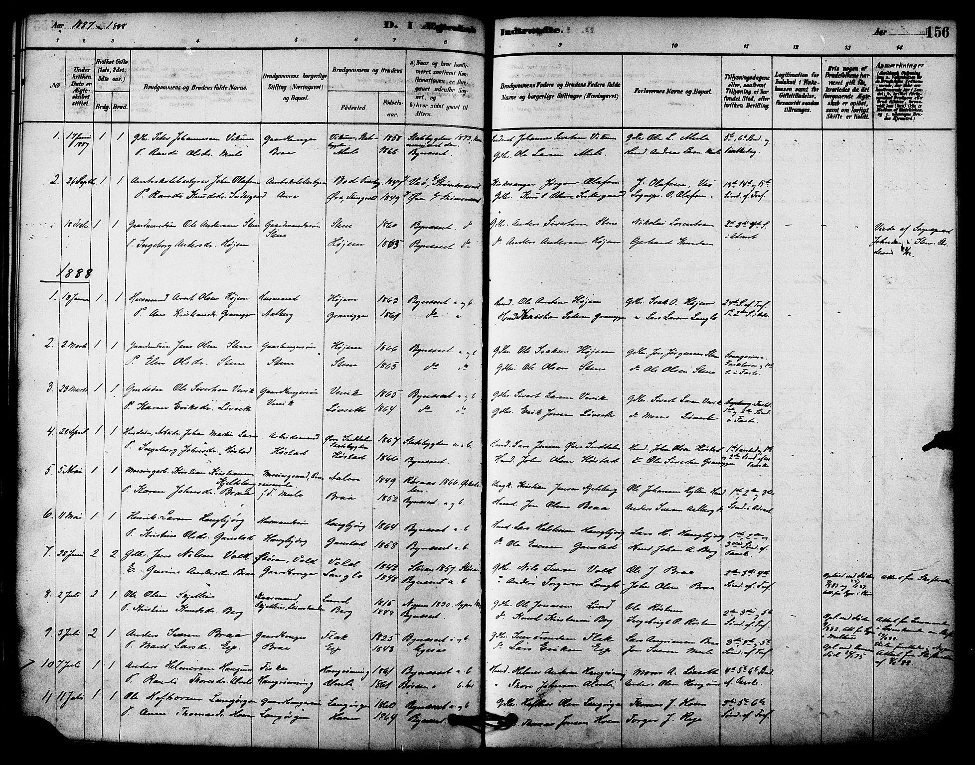 SAT, Ministerialprotokoller, klokkerbøker og fødselsregistre - Sør-Trøndelag, 612/L0378: Ministerialbok nr. 612A10, 1878-1897, s. 156