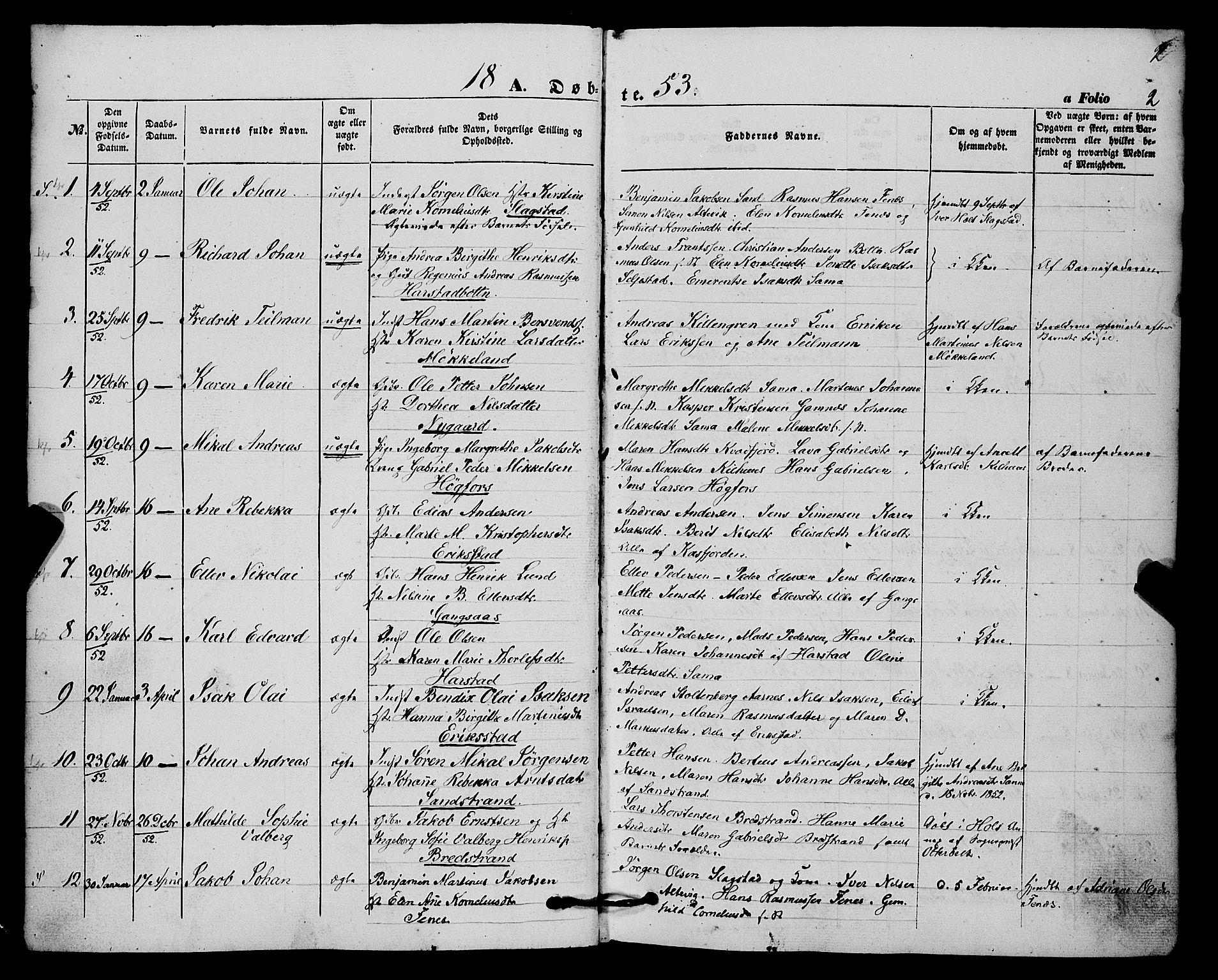 SATØ, Trondenes sokneprestkontor, H/Ha/L0011kirke: Ministerialbok nr. 11, 1853-1862, s. 2