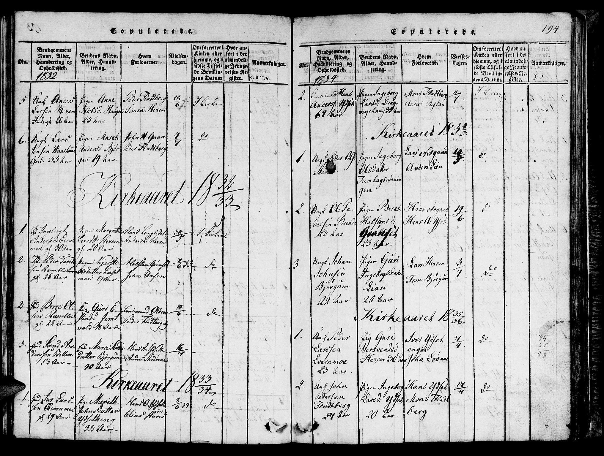 SAT, Ministerialprotokoller, klokkerbøker og fødselsregistre - Sør-Trøndelag, 685/L0976: Klokkerbok nr. 685C01, 1817-1878, s. 194
