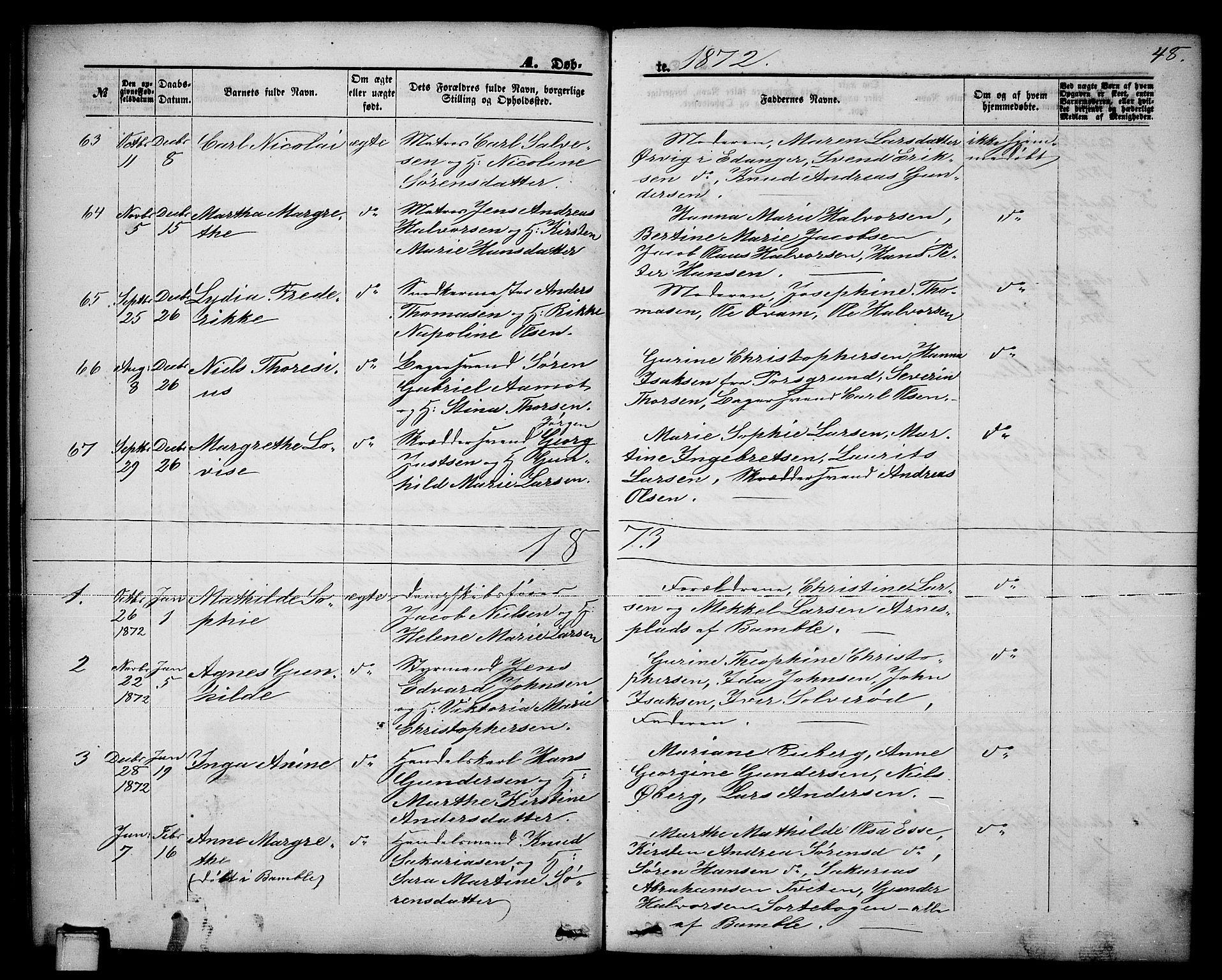 SAKO, Brevik kirkebøker, G/Ga/L0003: Klokkerbok nr. 3, 1866-1881, s. 48