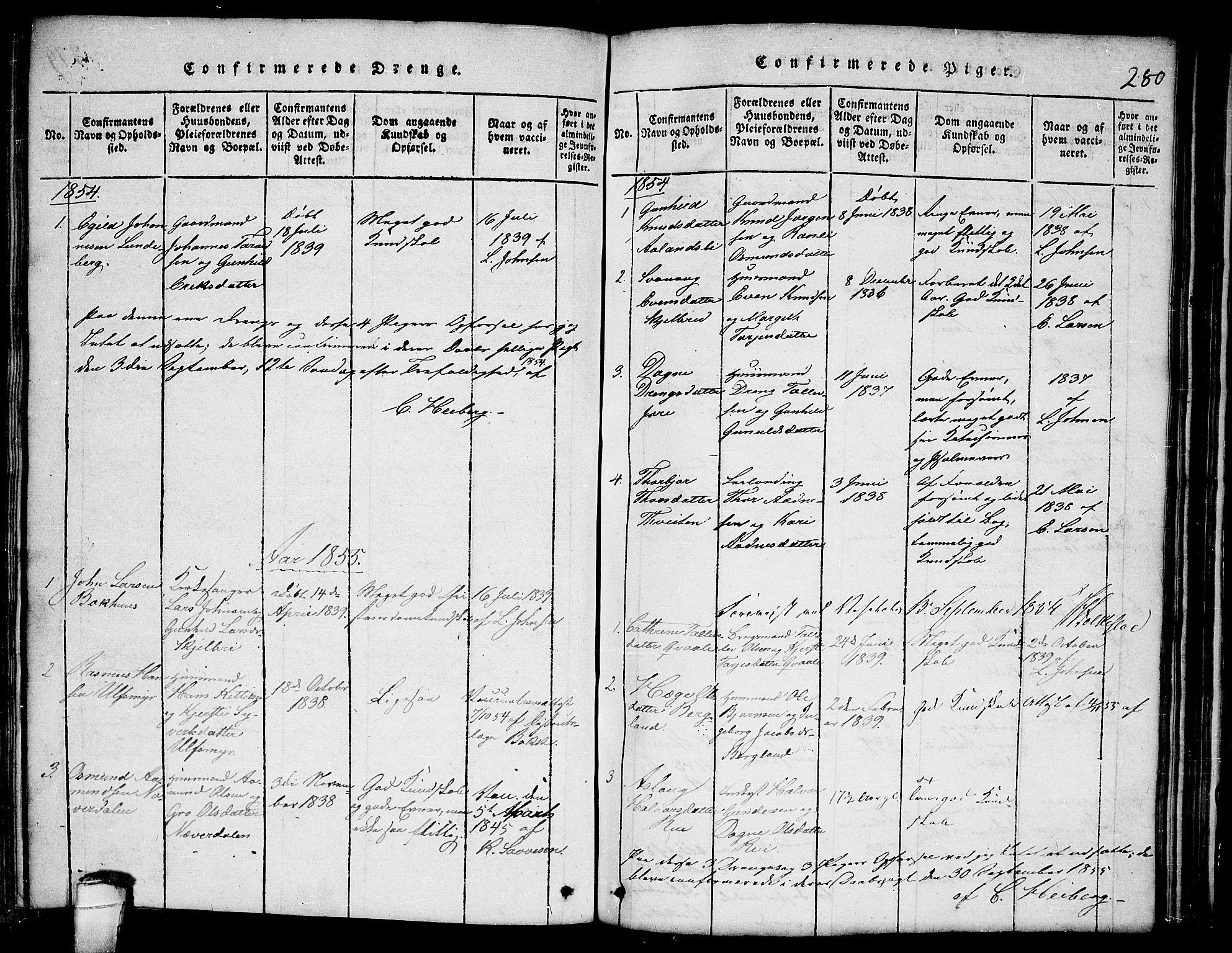 SAKO, Lårdal kirkebøker, G/Ga/L0001: Klokkerbok nr. I 1, 1815-1861, s. 280