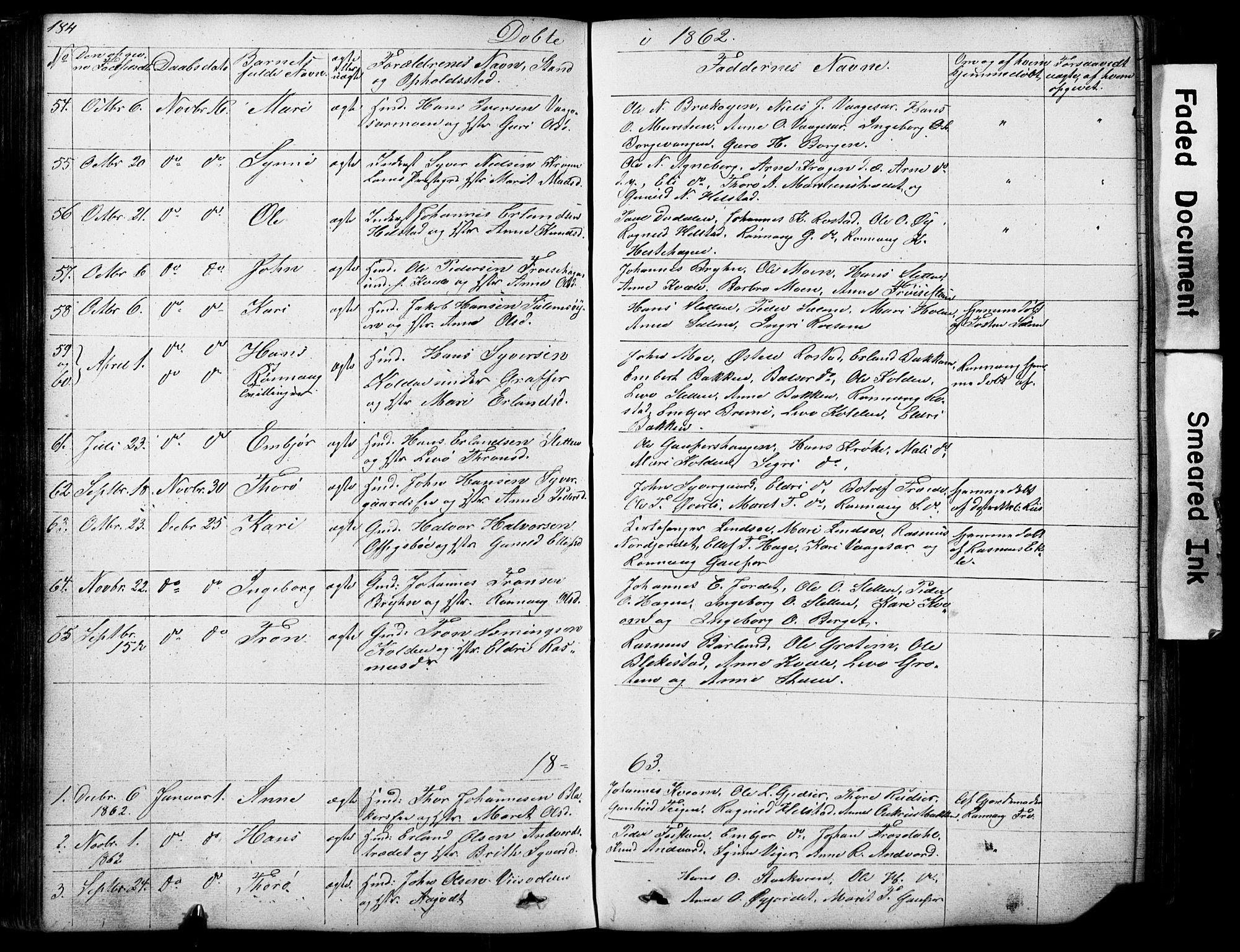 SAH, Lom prestekontor, L/L0012: Klokkerbok nr. 12, 1845-1873, s. 184-185