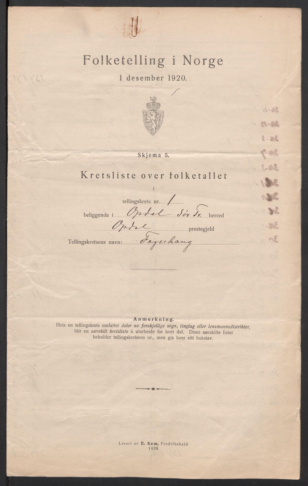 SAT, Folketelling 1920 for 1634 Oppdal herred, 1920, s. 6