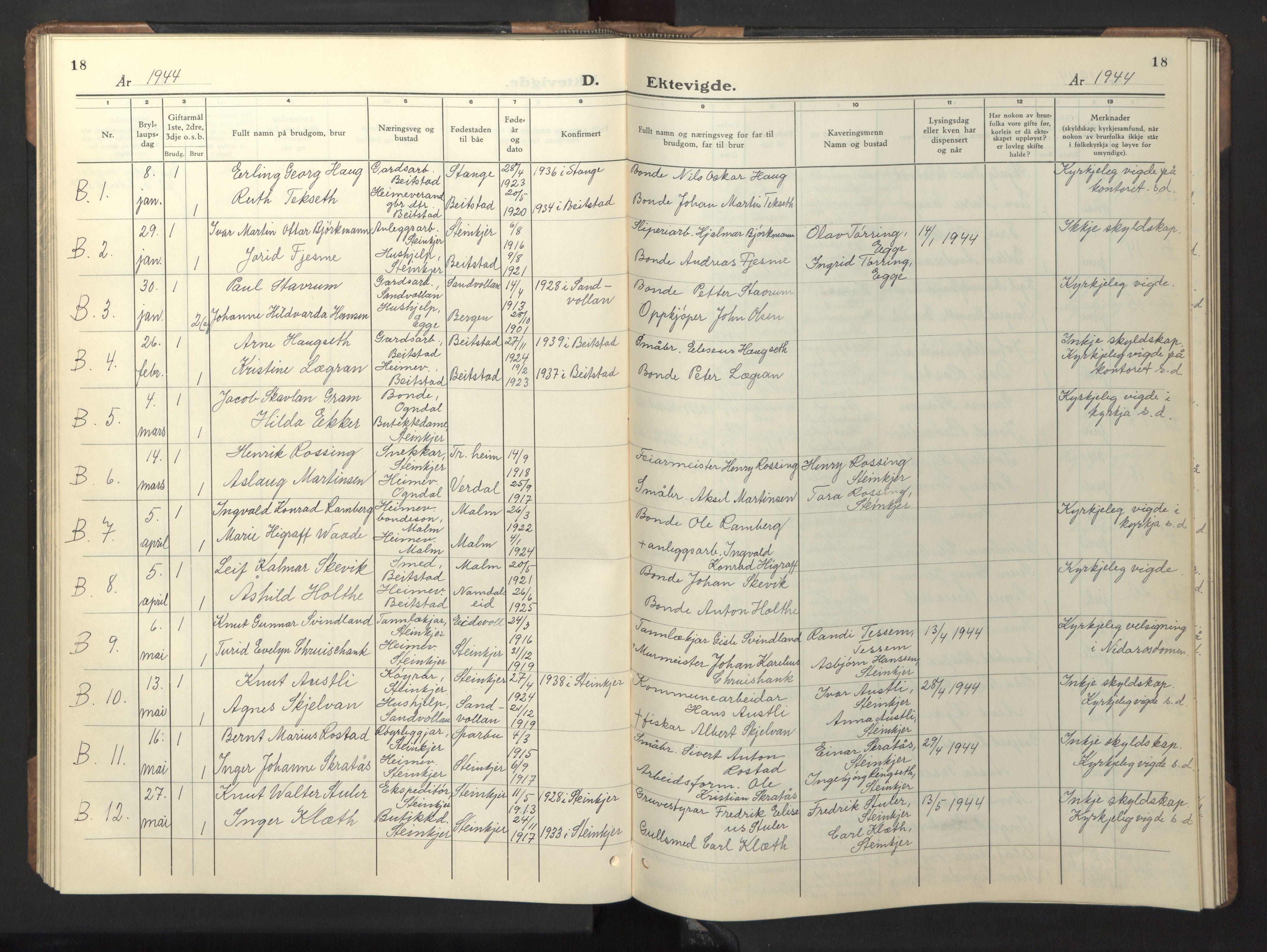 SAT, Ministerialprotokoller, klokkerbøker og fødselsregistre - Nord-Trøndelag, 739/L0377: Klokkerbok nr. 739C05, 1940-1947, s. 18