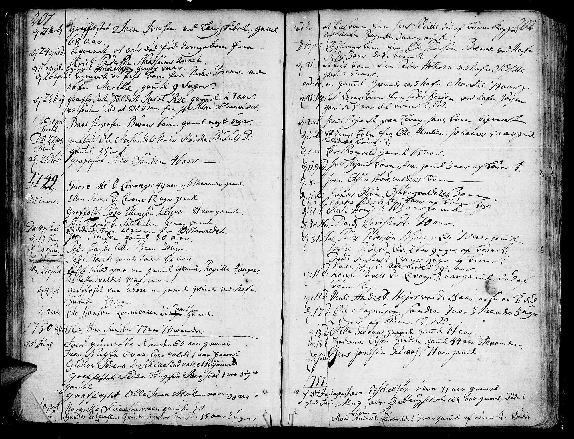 SAT, Ministerialprotokoller, klokkerbøker og fødselsregistre - Nord-Trøndelag, 717/L0141: Ministerialbok nr. 717A01, 1747-1803, s. 201-202