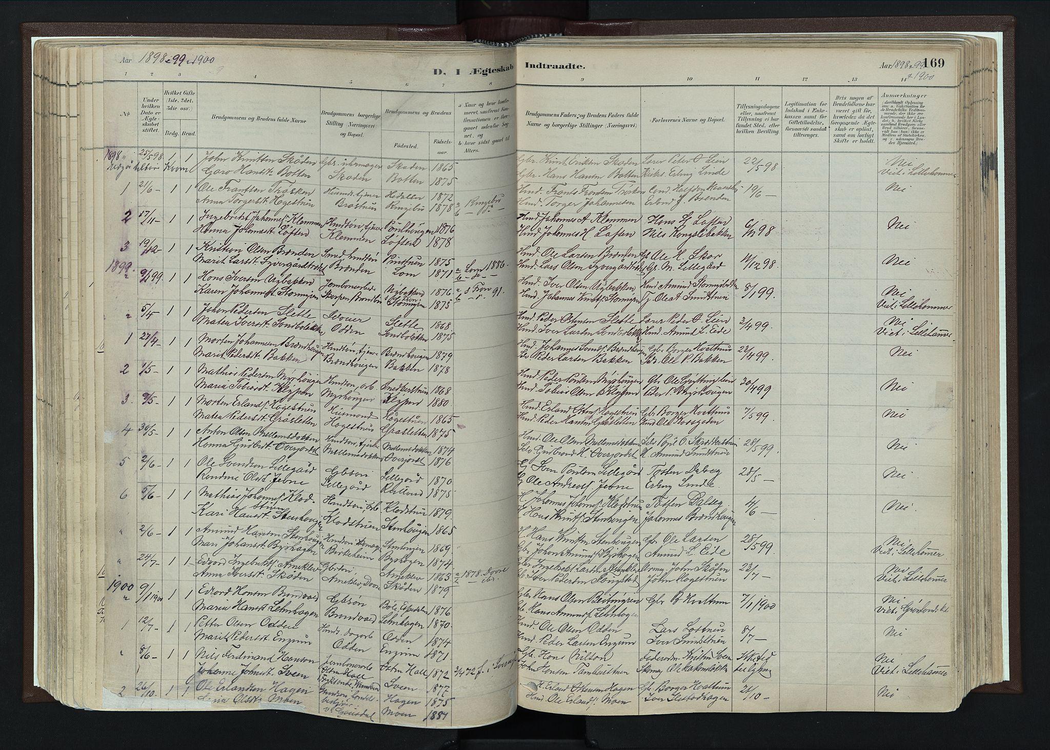 SAH, Nord-Fron prestekontor, Ministerialbok nr. 4, 1884-1914, s. 169