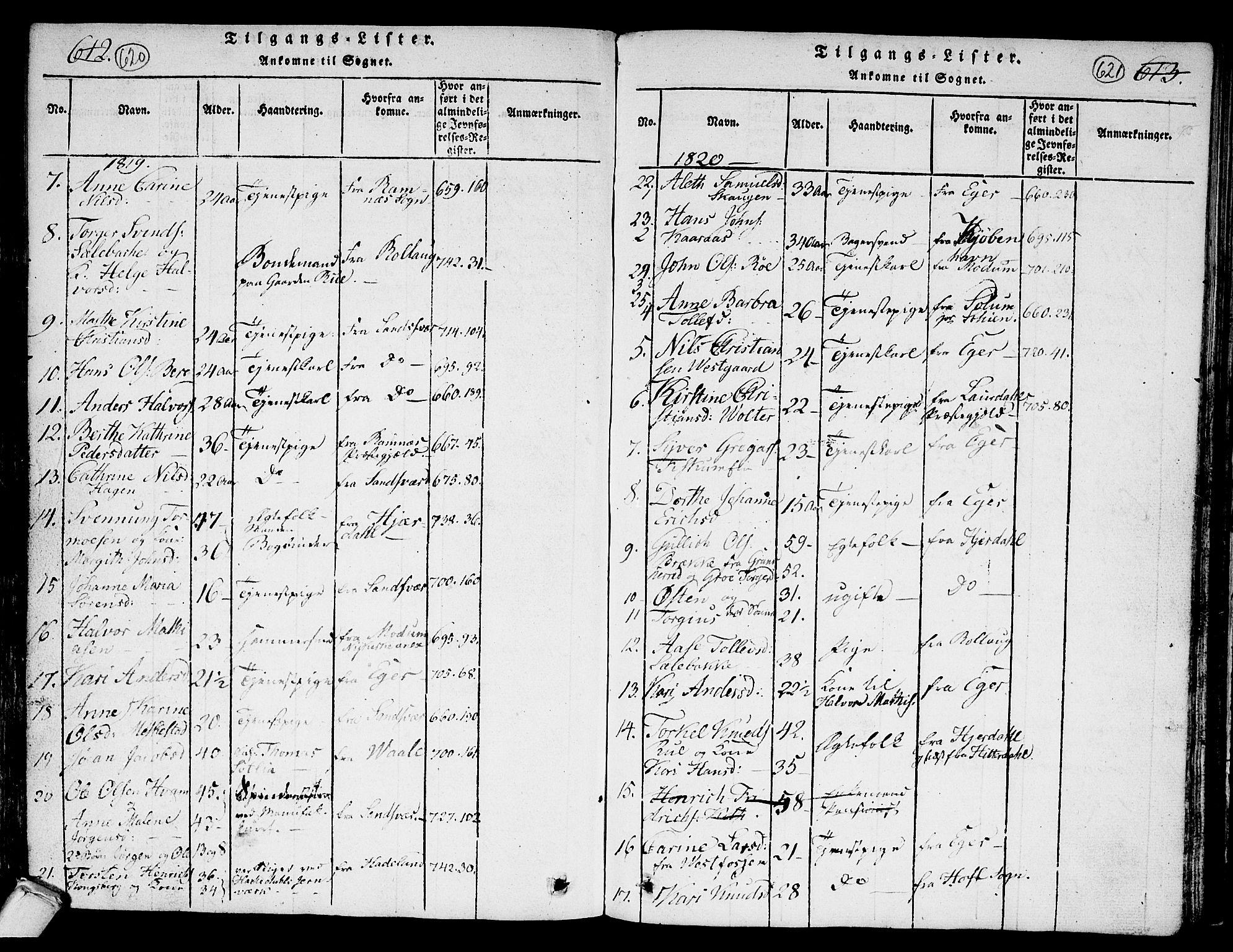 SAKO, Kongsberg kirkebøker, G/Ga/L0001: Klokkerbok nr. 1, 1816-1839, s. 620-621