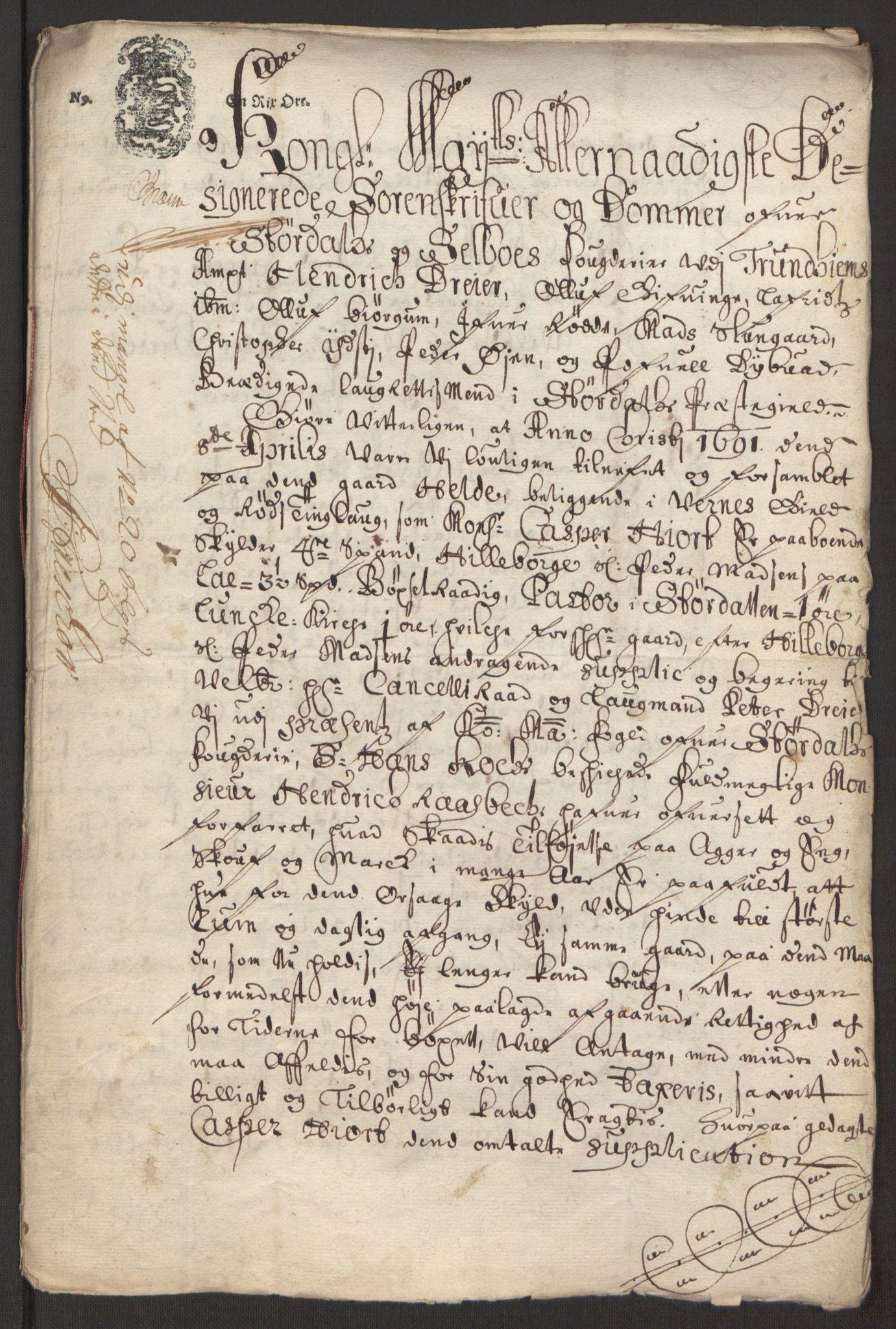 RA, Rentekammeret inntil 1814, Reviderte regnskaper, Fogderegnskap, R62/L4185: Fogderegnskap Stjørdal og Verdal, 1692, s. 218