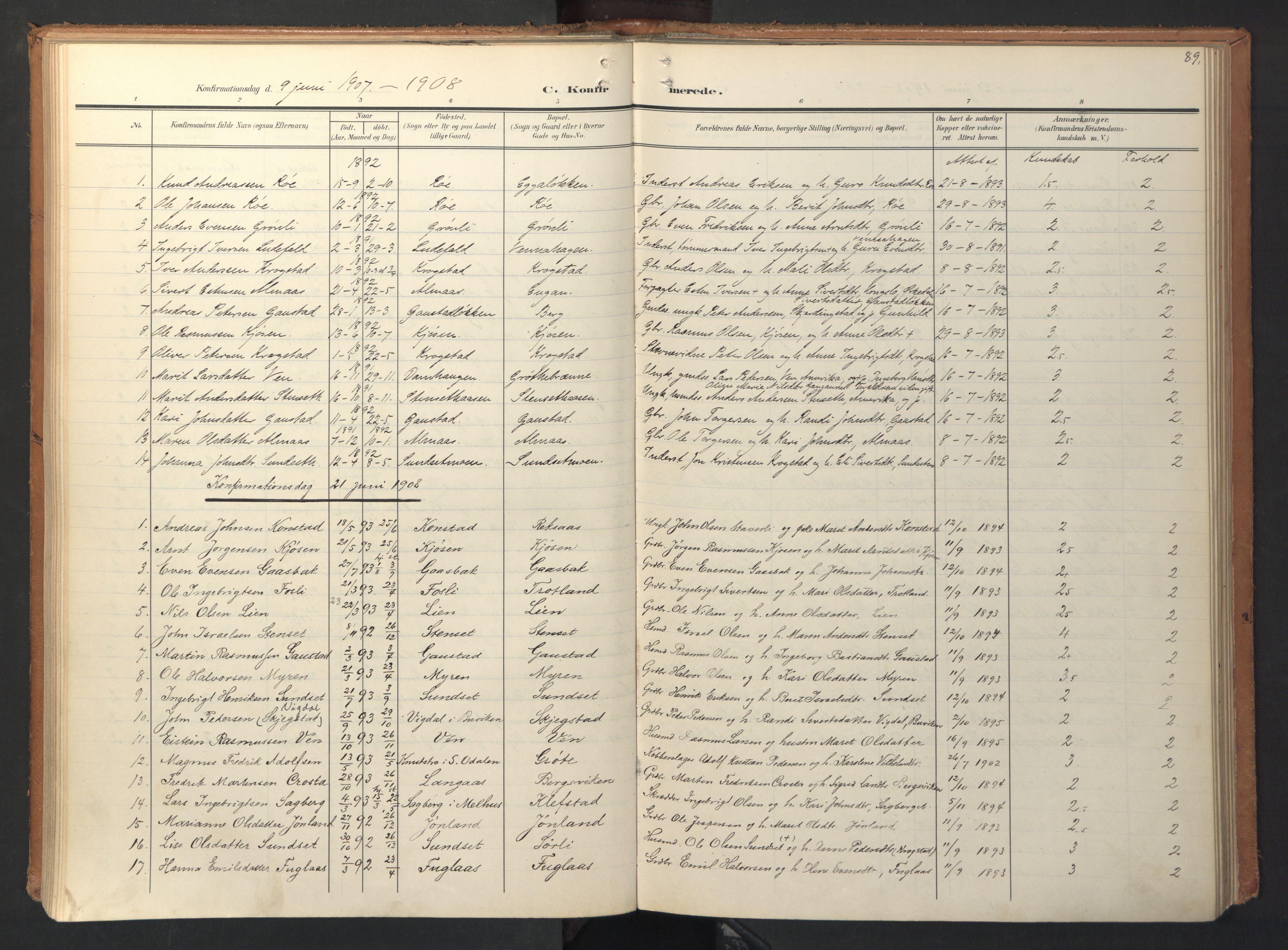 SAT, Ministerialprotokoller, klokkerbøker og fødselsregistre - Sør-Trøndelag, 694/L1128: Ministerialbok nr. 694A02, 1906-1931, s. 89