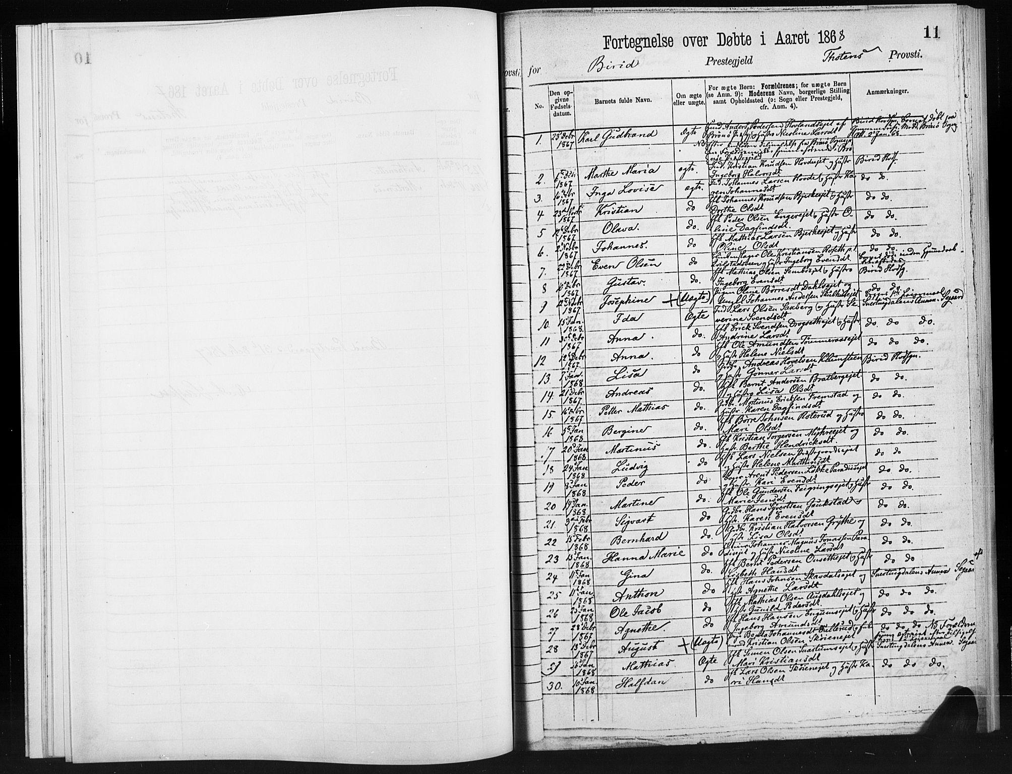 SAH, Biri prestekontor, Ministerialbok, 1866-1872, s. 11