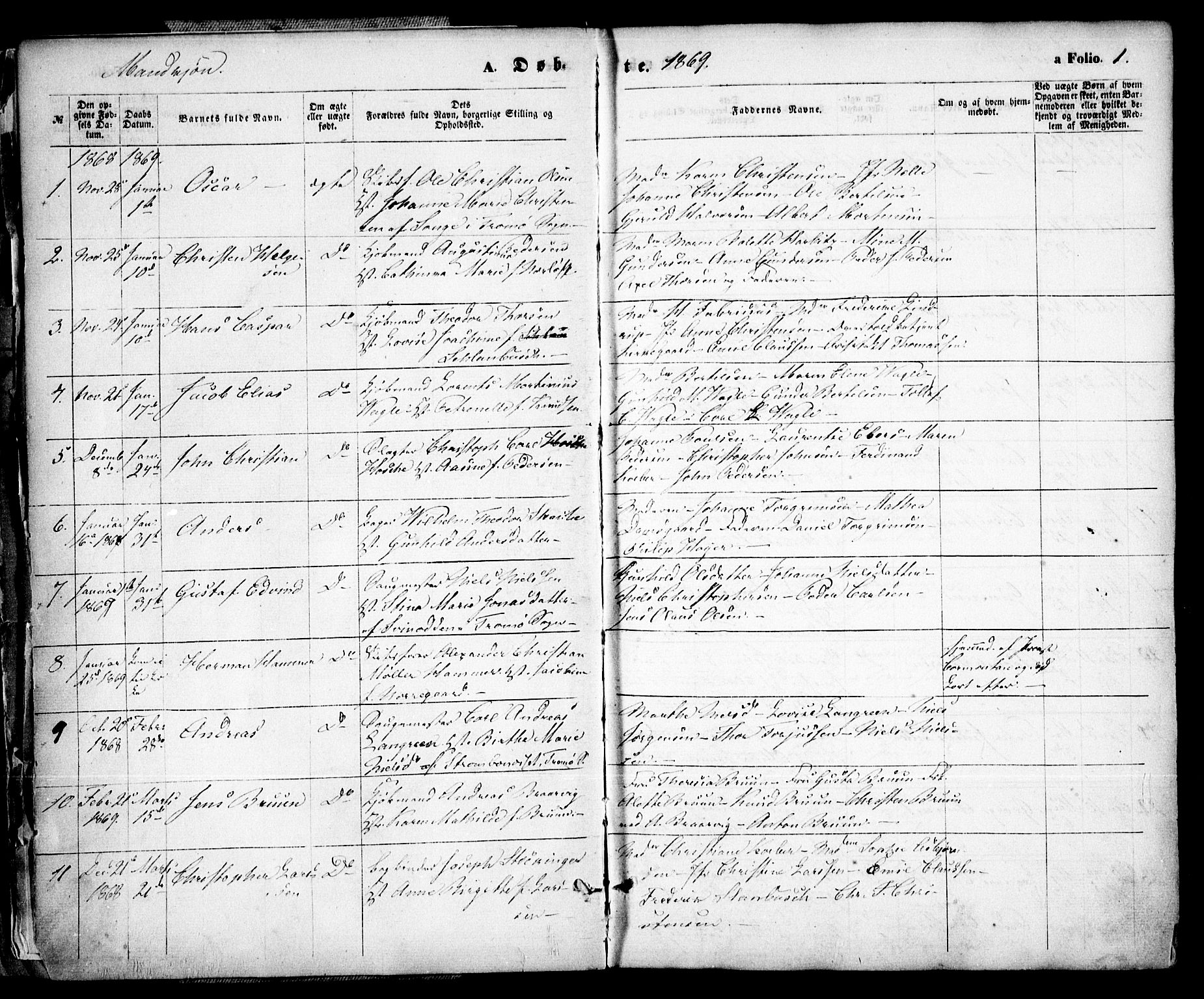 SAK, Arendal sokneprestkontor, Trefoldighet, F/Fa/L0007: Ministerialbok nr. A 7, 1868-1878, s. 1
