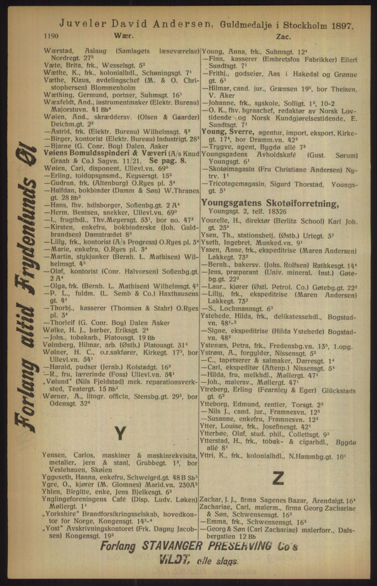 RA, Kristiania adressebok (publikasjon)*, 1915, s. 1190