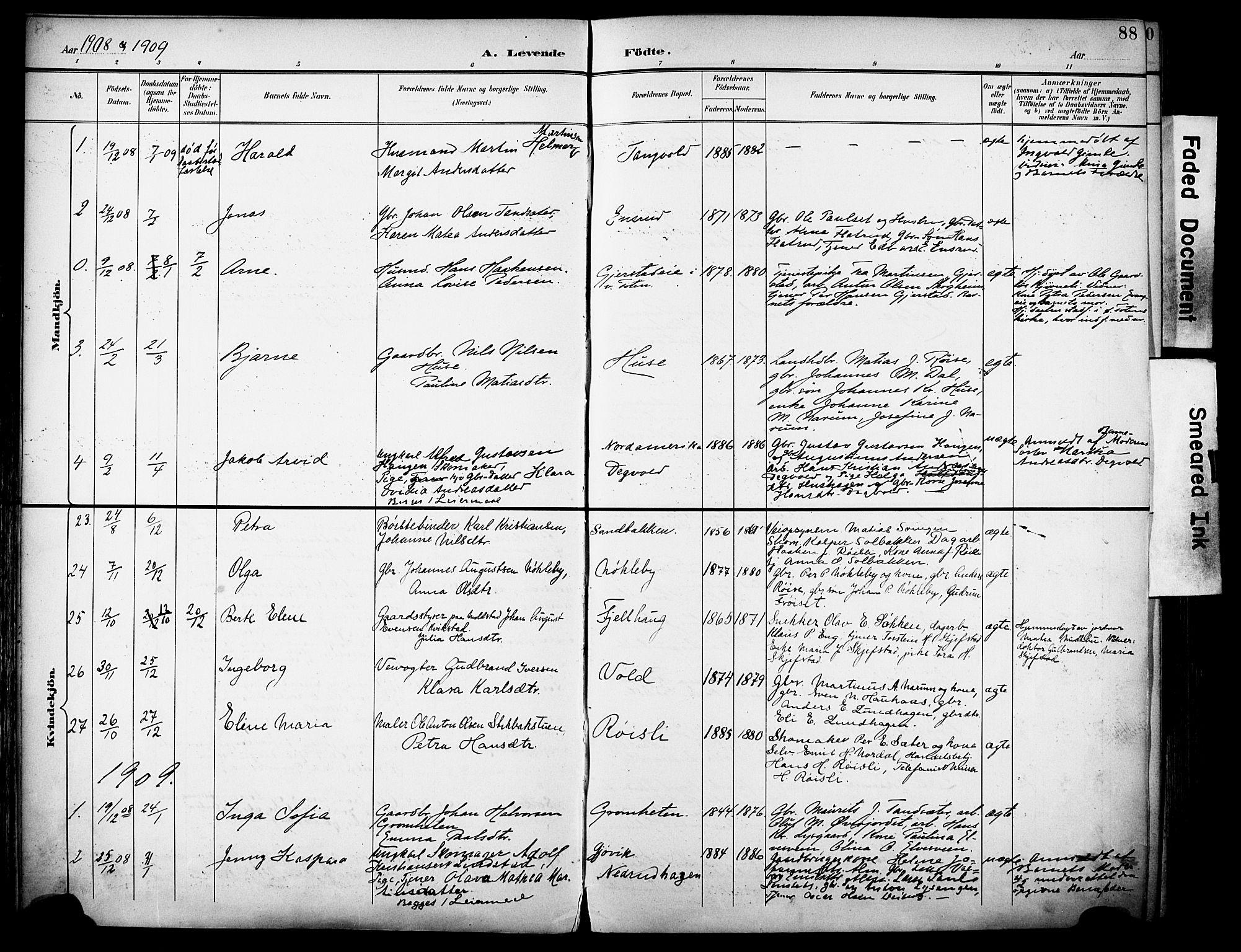 SAH, Vestre Toten prestekontor, H/Ha/Haa/L0013: Ministerialbok nr. 13, 1895-1911, s. 88