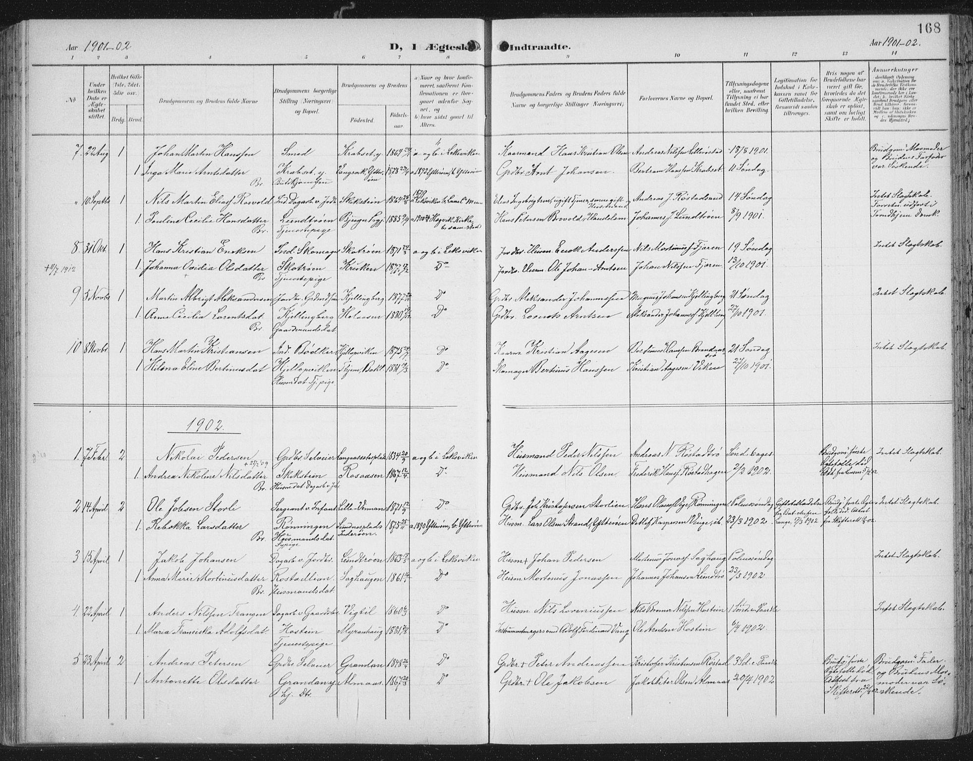 SAT, Ministerialprotokoller, klokkerbøker og fødselsregistre - Nord-Trøndelag, 701/L0011: Ministerialbok nr. 701A11, 1899-1915, s. 168