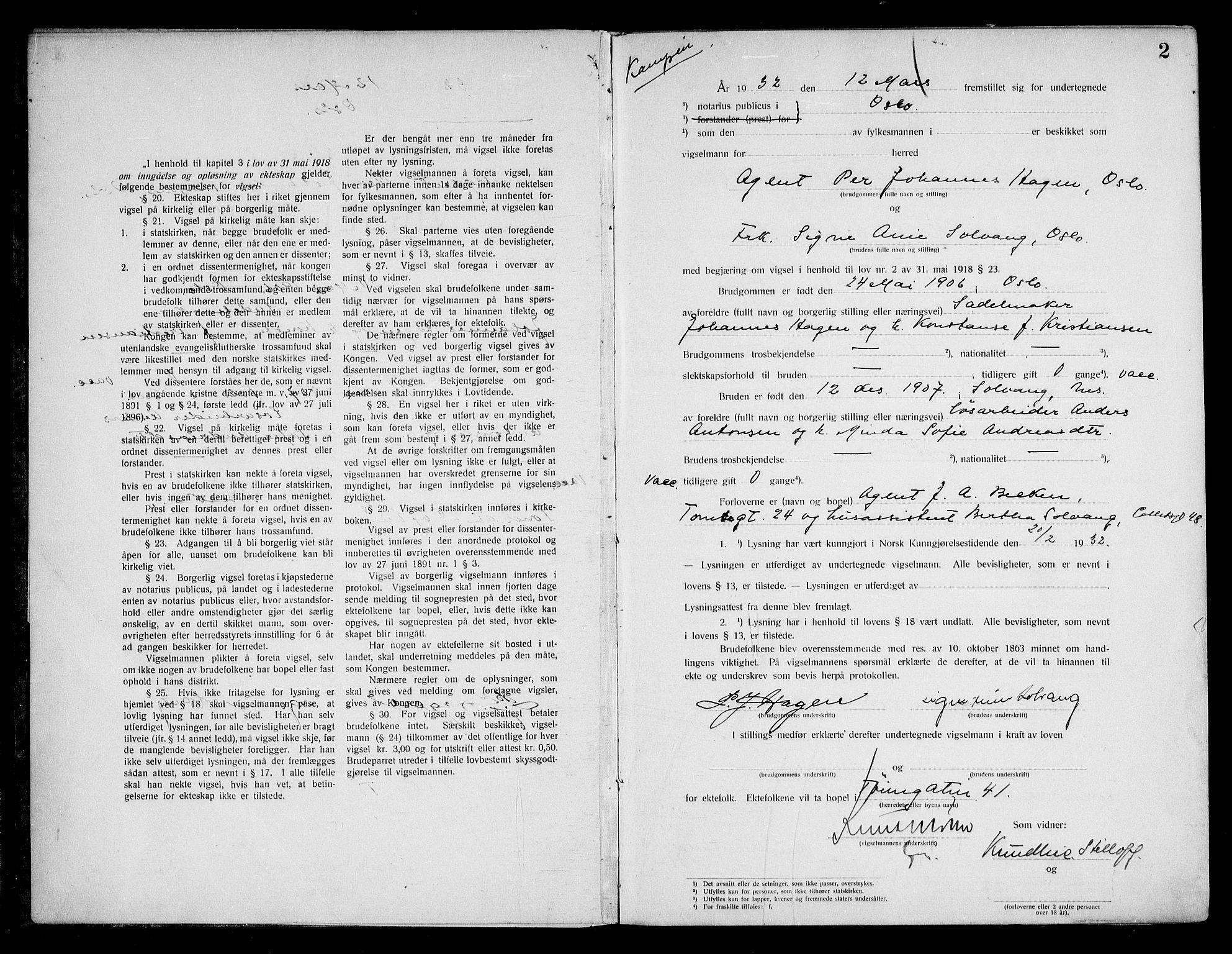 SAO, Oslo byfogd avd. I, L/Lb/Lbb/L0022: Notarialprotokoll, rekke II: Vigsler, 1932-1933, s. 1b-2a