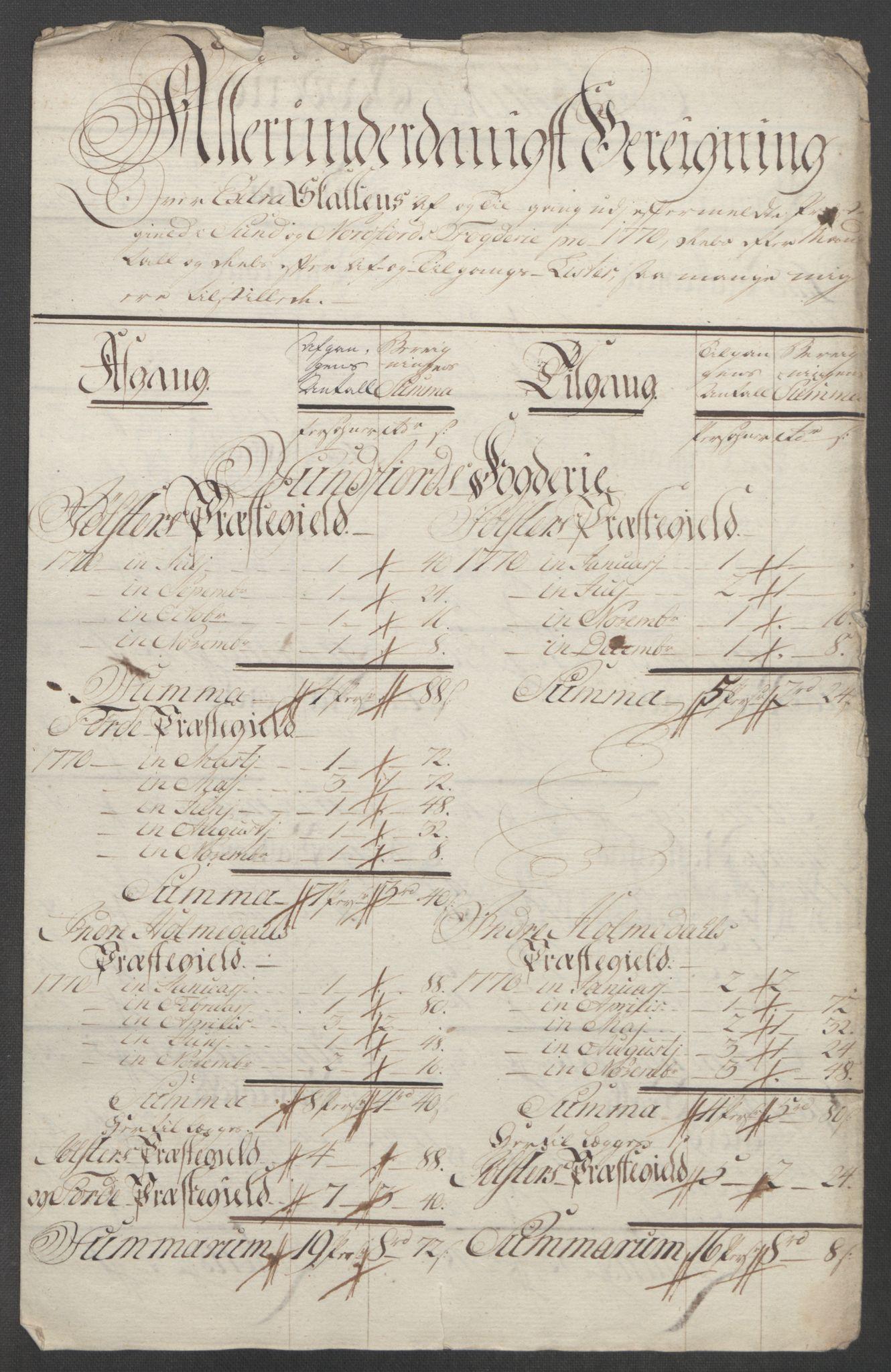 RA, Rentekammeret inntil 1814, Reviderte regnskaper, Fogderegnskap, R53/L3550: Ekstraskatten Sunn- og Nordfjord, 1762-1771, s. 305