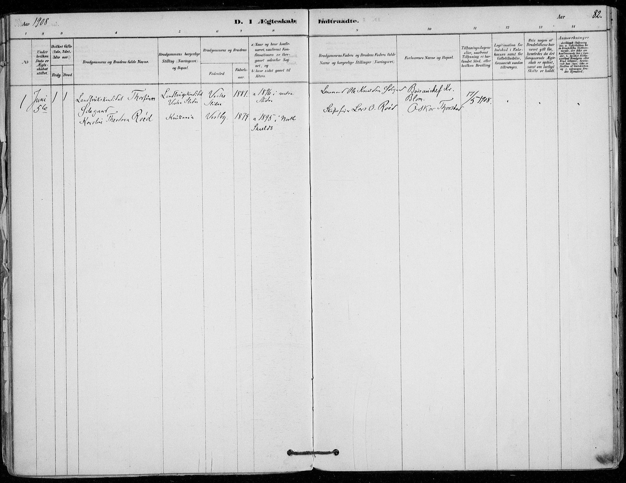 SAO, Vestby prestekontor Kirkebøker, F/Fd/L0001: Ministerialbok nr. IV 1, 1878-1945, s. 82