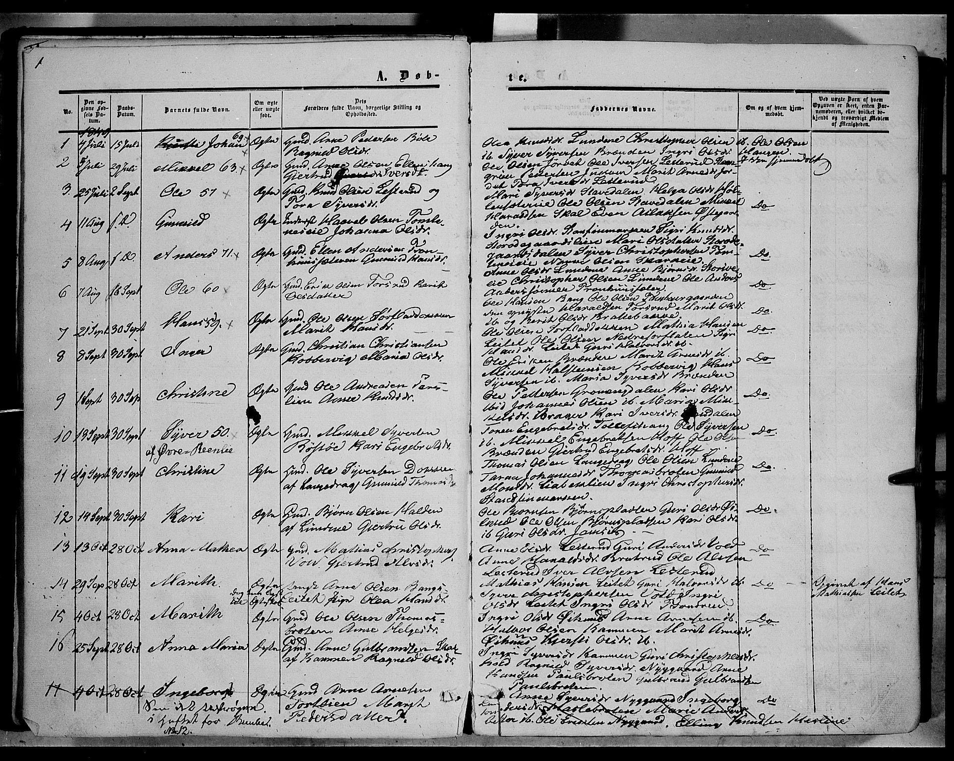 SAH, Sør-Aurdal prestekontor, Ministerialbok nr. 5, 1849-1876, s. 1