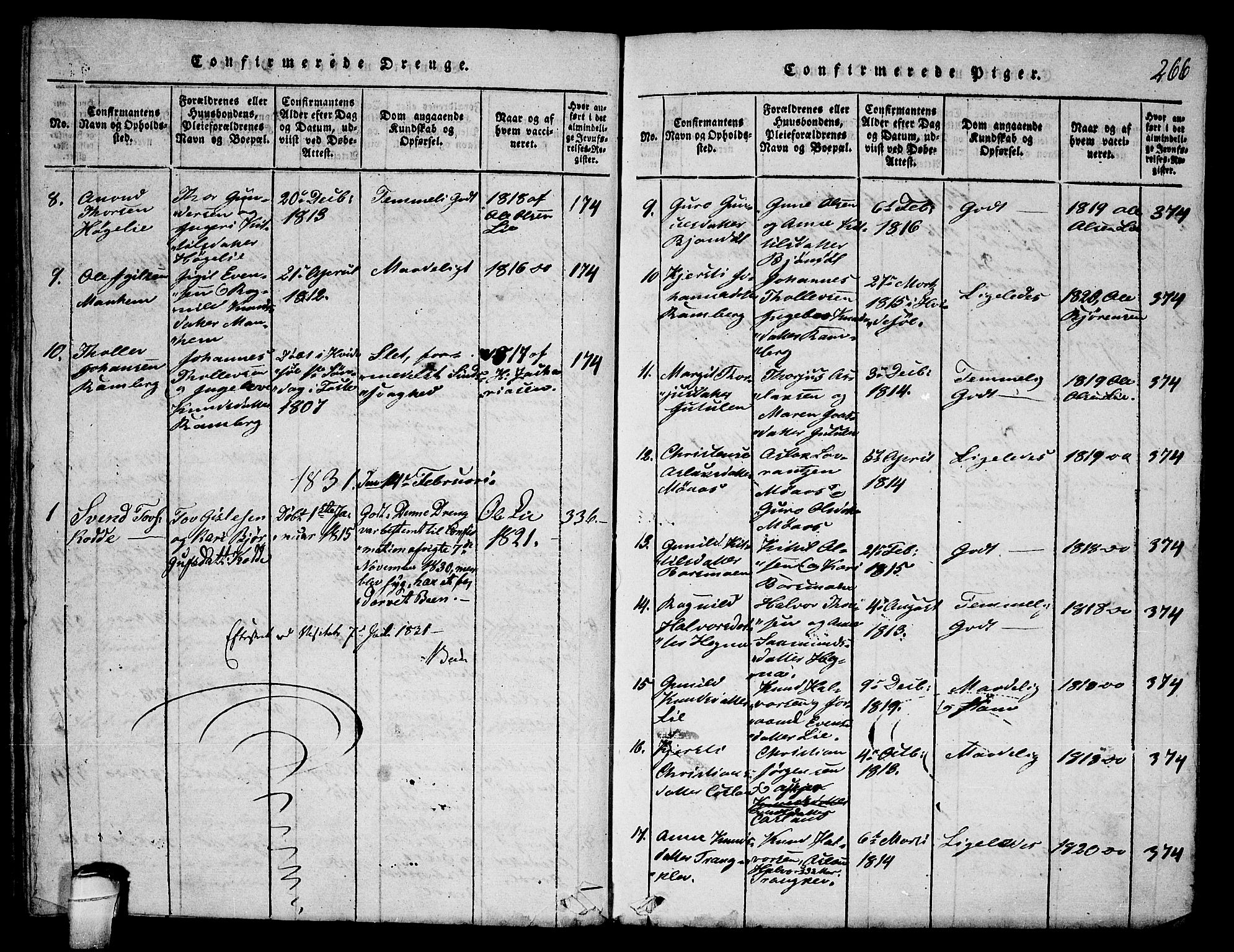 SAKO, Seljord kirkebøker, F/Fa/L0010: Ministerialbok nr. I 10, 1815-1831, s. 266