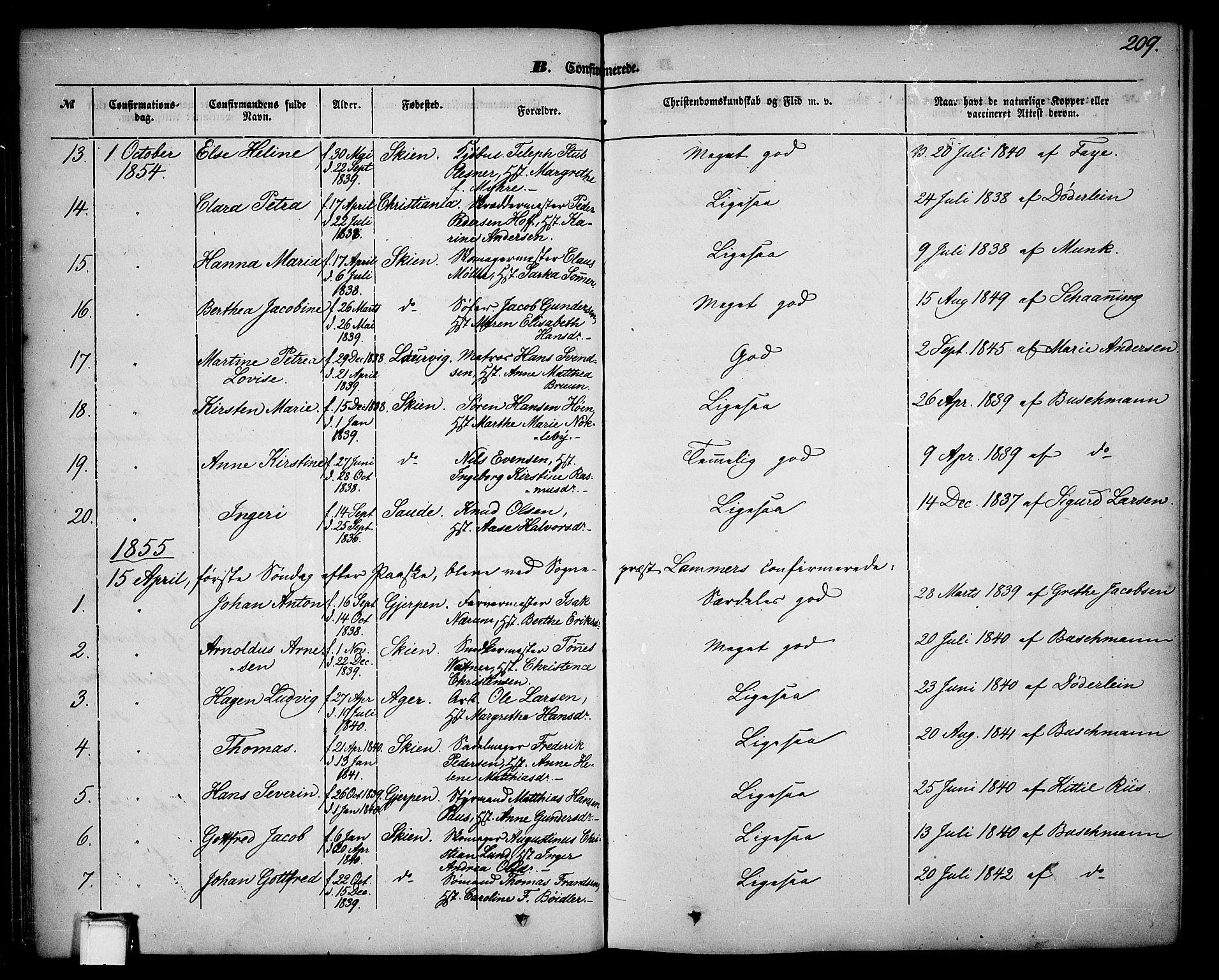 SAKO, Skien kirkebøker, G/Ga/L0004: Klokkerbok nr. 4, 1843-1867, s. 209
