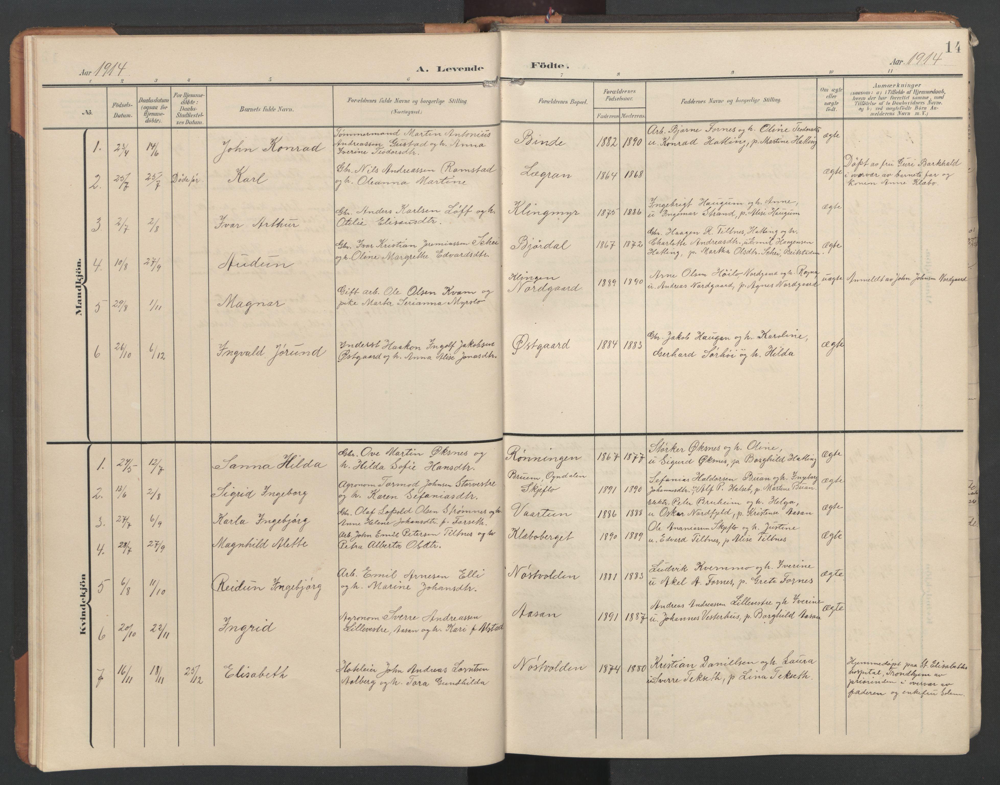 SAT, Ministerialprotokoller, klokkerbøker og fødselsregistre - Nord-Trøndelag, 746/L0455: Klokkerbok nr. 746C01, 1908-1933, s. 14