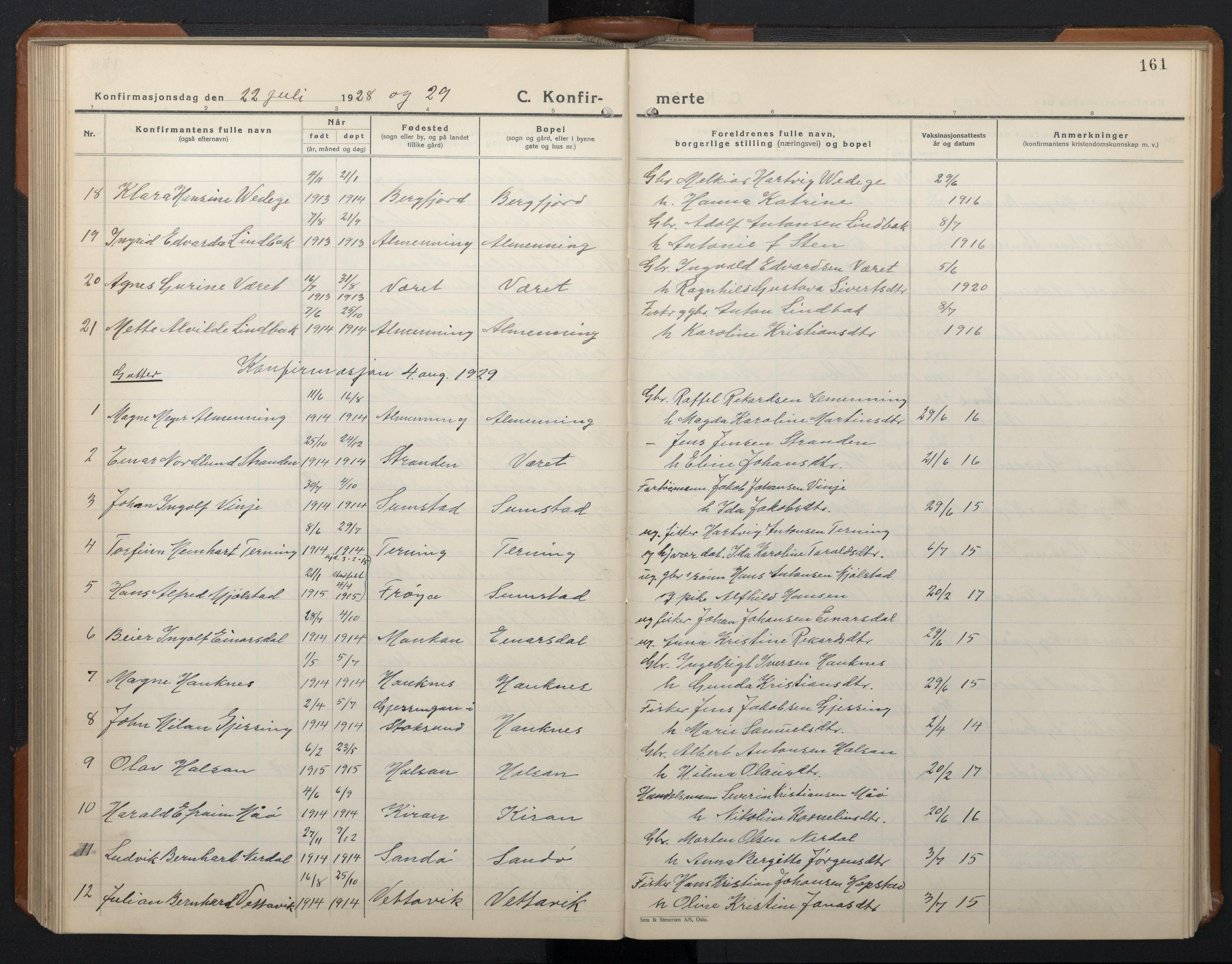SAT, Ministerialprotokoller, klokkerbøker og fødselsregistre - Sør-Trøndelag, 657/L0718: Klokkerbok nr. 657C05, 1923-1948, s. 161
