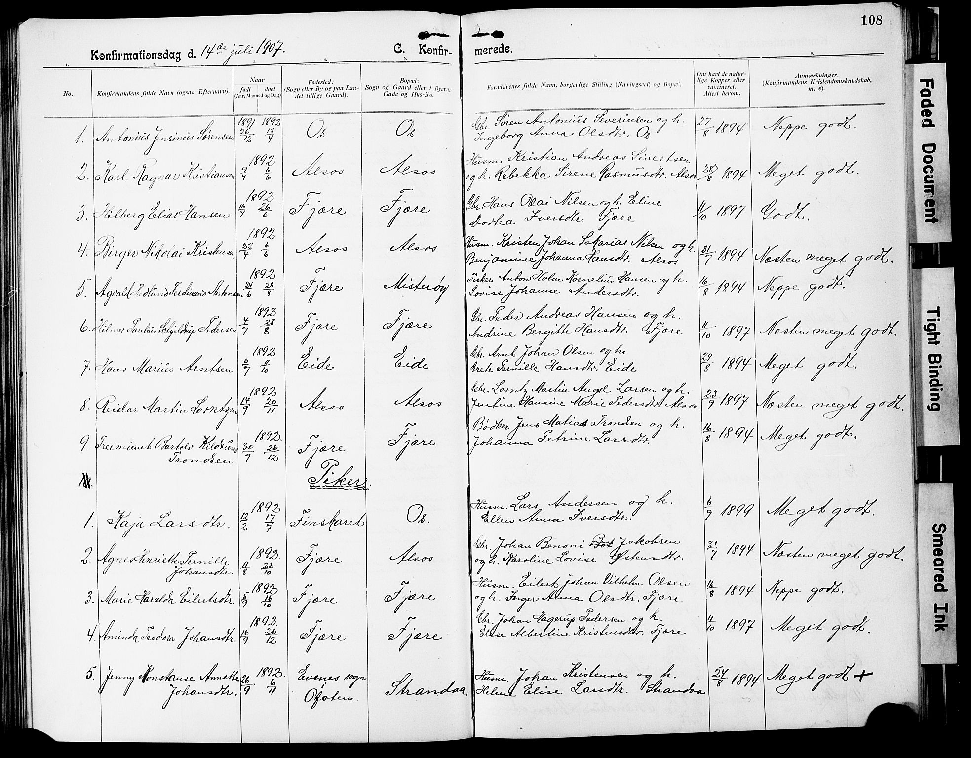 SAT, Ministerialprotokoller, klokkerbøker og fødselsregistre - Nordland, 803/L0077: Klokkerbok nr. 803C04, 1897-1930, s. 108