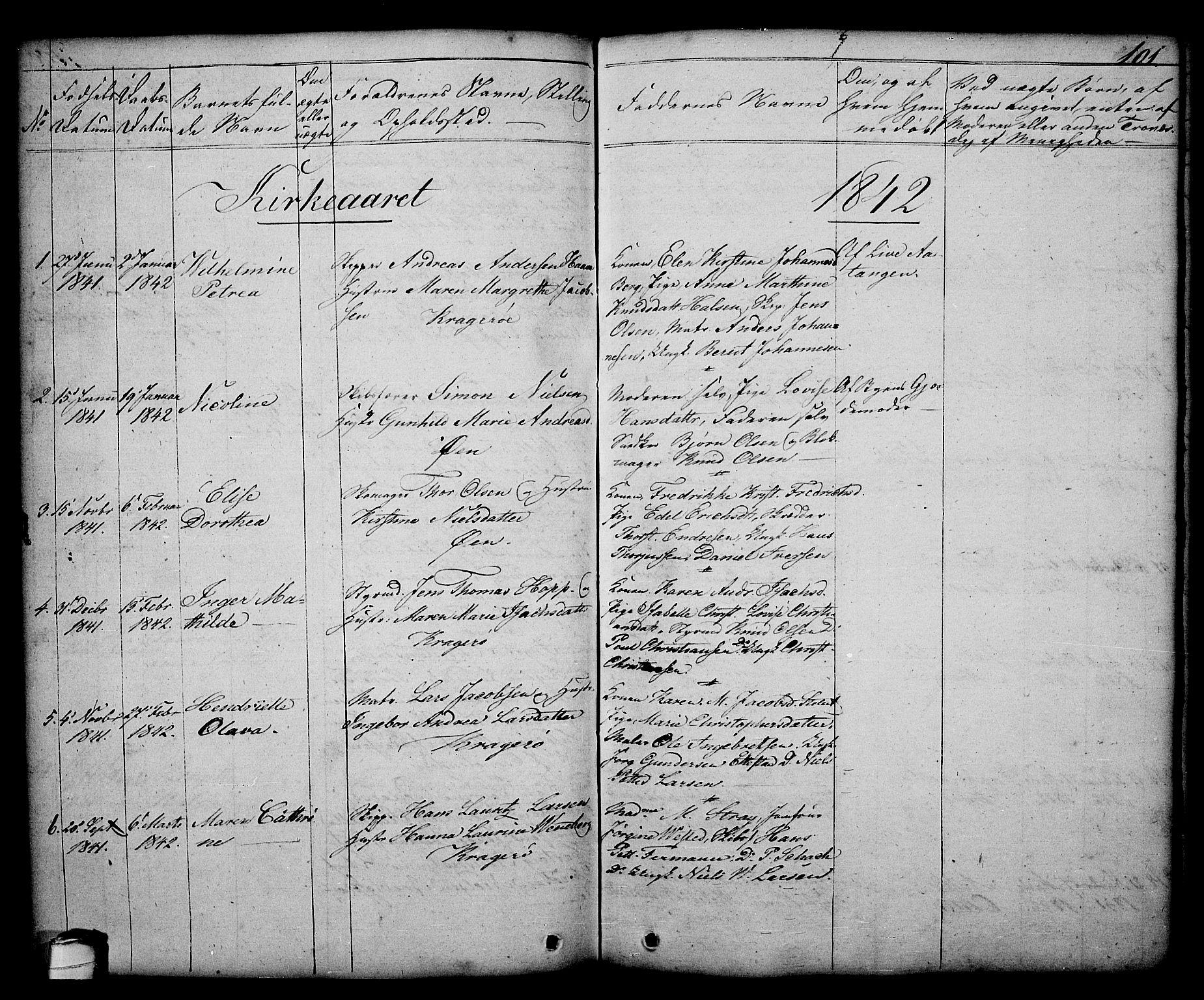 SAKO, Kragerø kirkebøker, G/Ga/L0003: Klokkerbok nr. 3, 1832-1852, s. 101