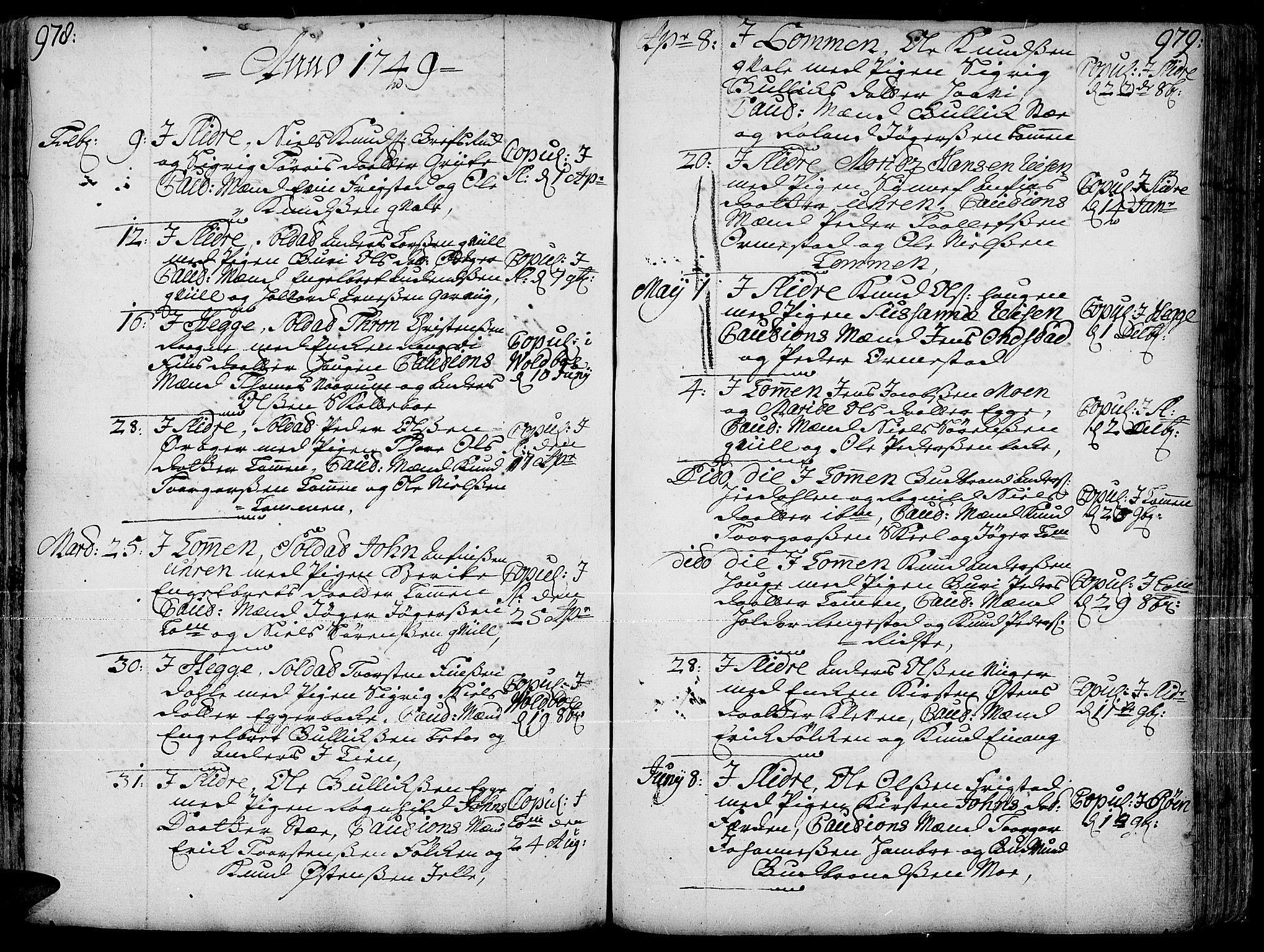 SAH, Slidre prestekontor, Ministerialbok nr. 1, 1724-1814, s. 978-979