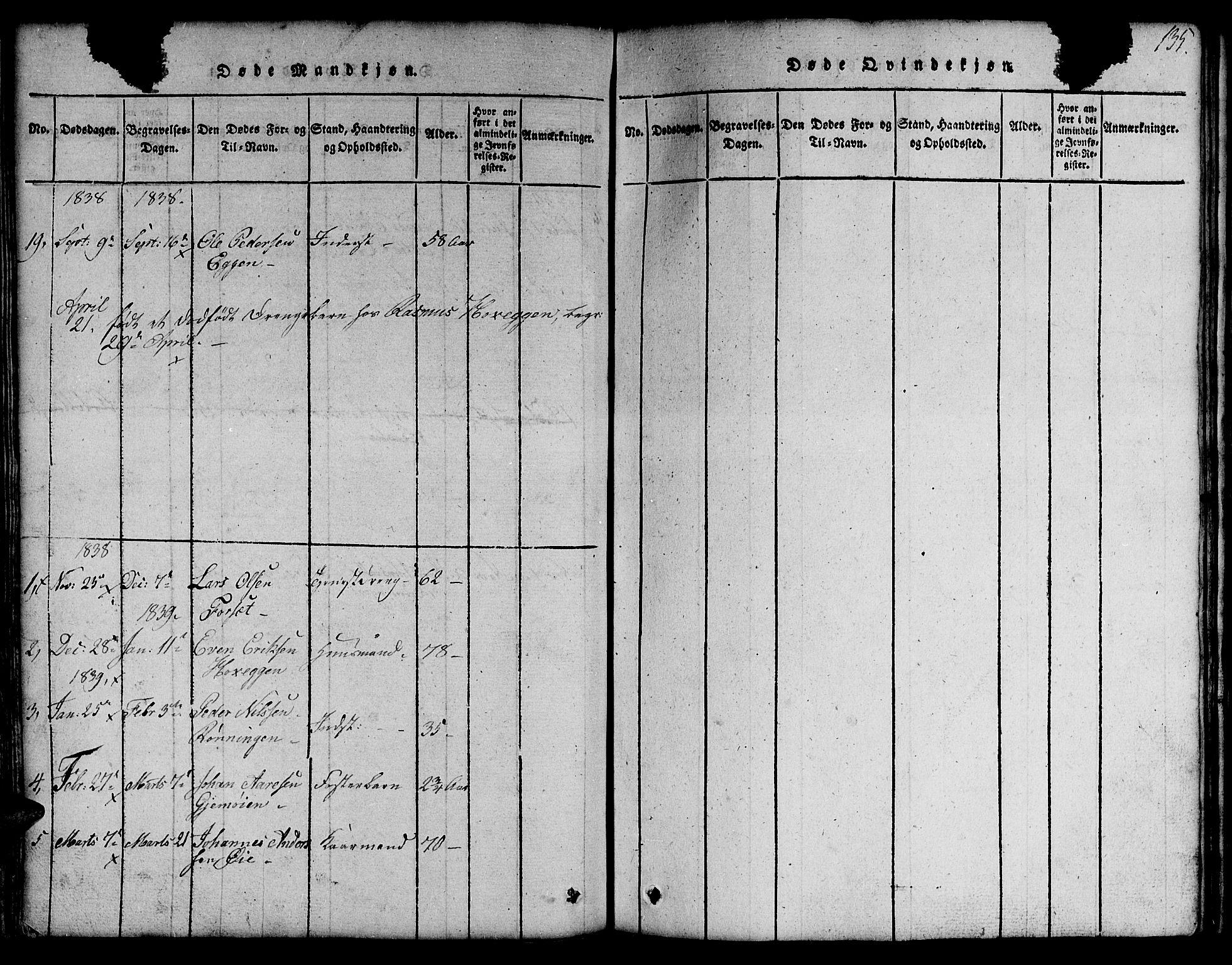 SAT, Ministerialprotokoller, klokkerbøker og fødselsregistre - Sør-Trøndelag, 691/L1092: Klokkerbok nr. 691C03, 1816-1852, s. 135