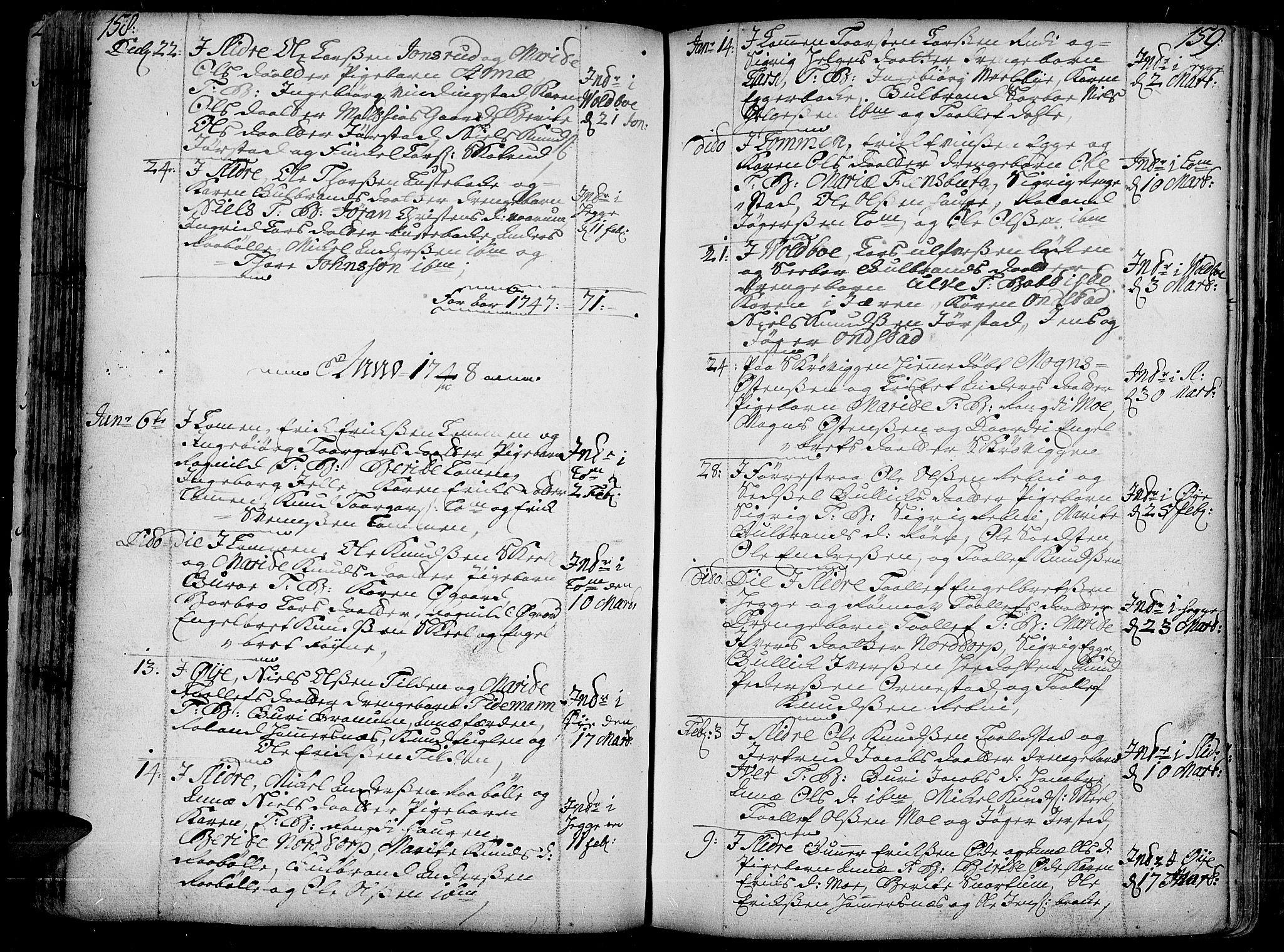 SAH, Slidre prestekontor, Ministerialbok nr. 1, 1724-1814, s. 158-159