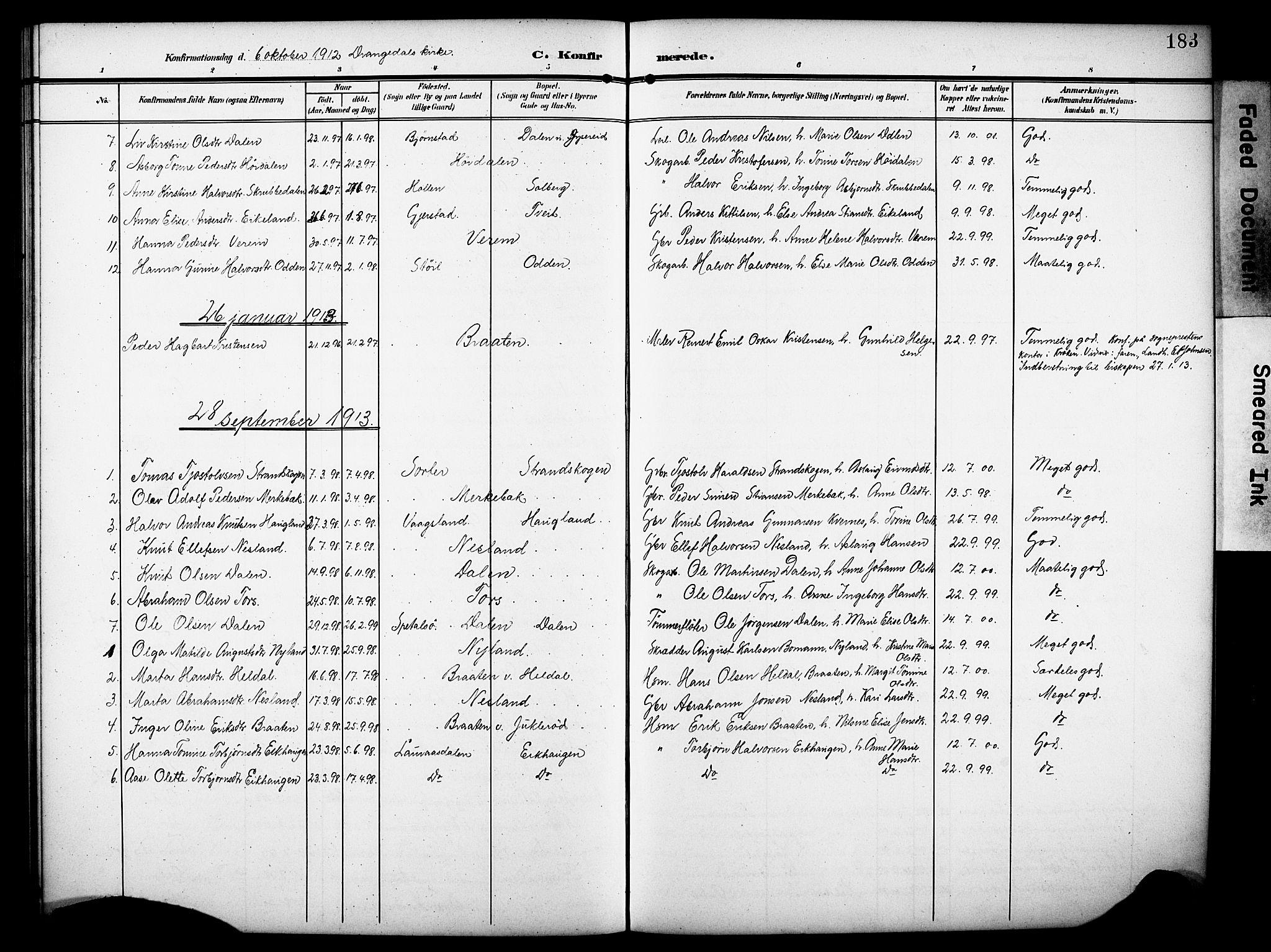 SAKO, Drangedal kirkebøker, G/Ga/L0004: Klokkerbok nr. I 4, 1901-1933, s. 183
