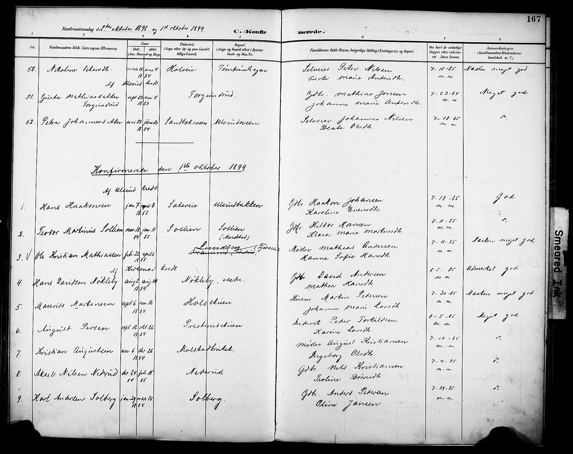 SAH, Vestre Toten prestekontor, H/Ha/Haa/L0013: Ministerialbok nr. 13, 1895-1911, s. 167