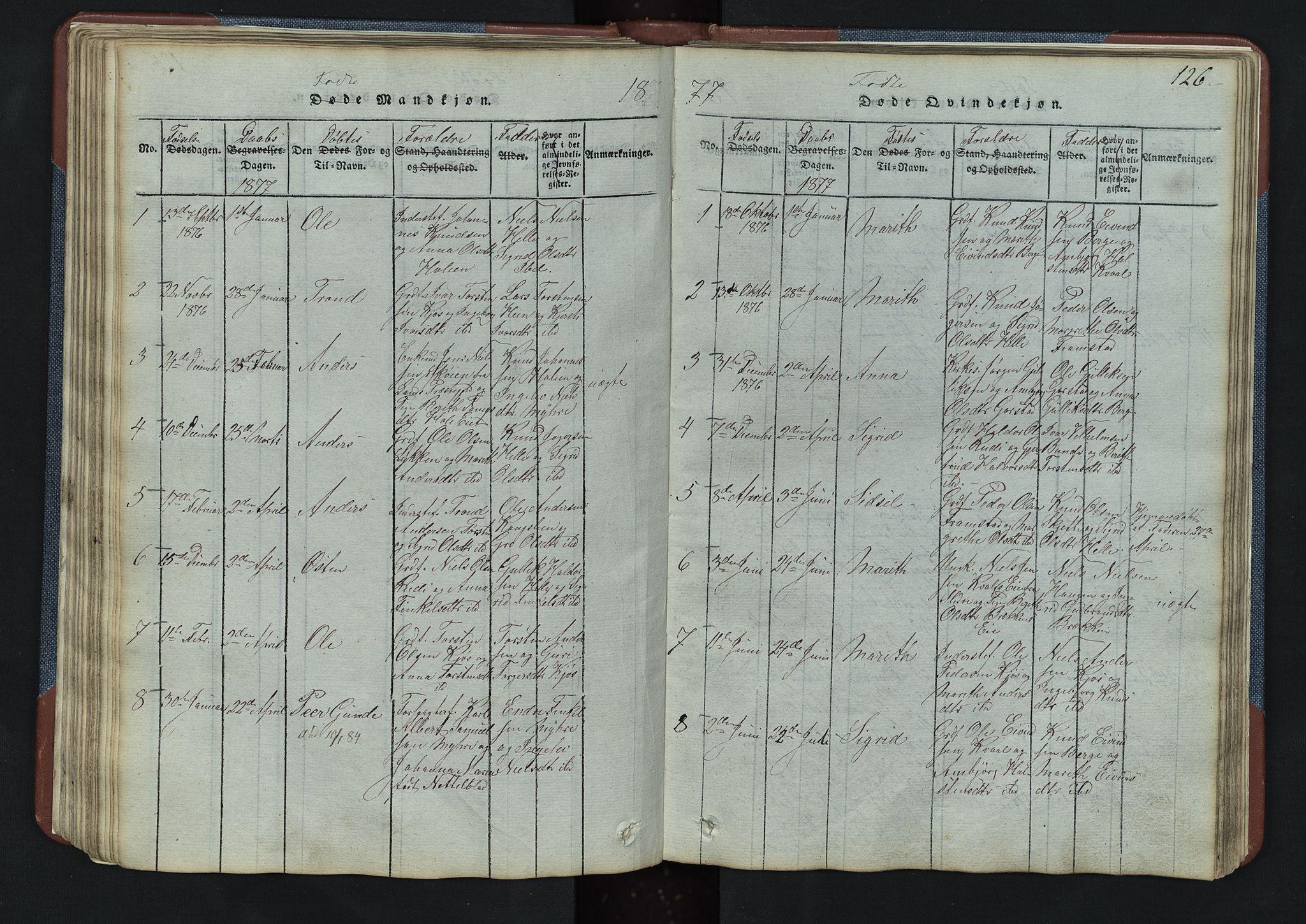 SAH, Vang prestekontor, Valdres, Klokkerbok nr. 3, 1814-1892, s. 126