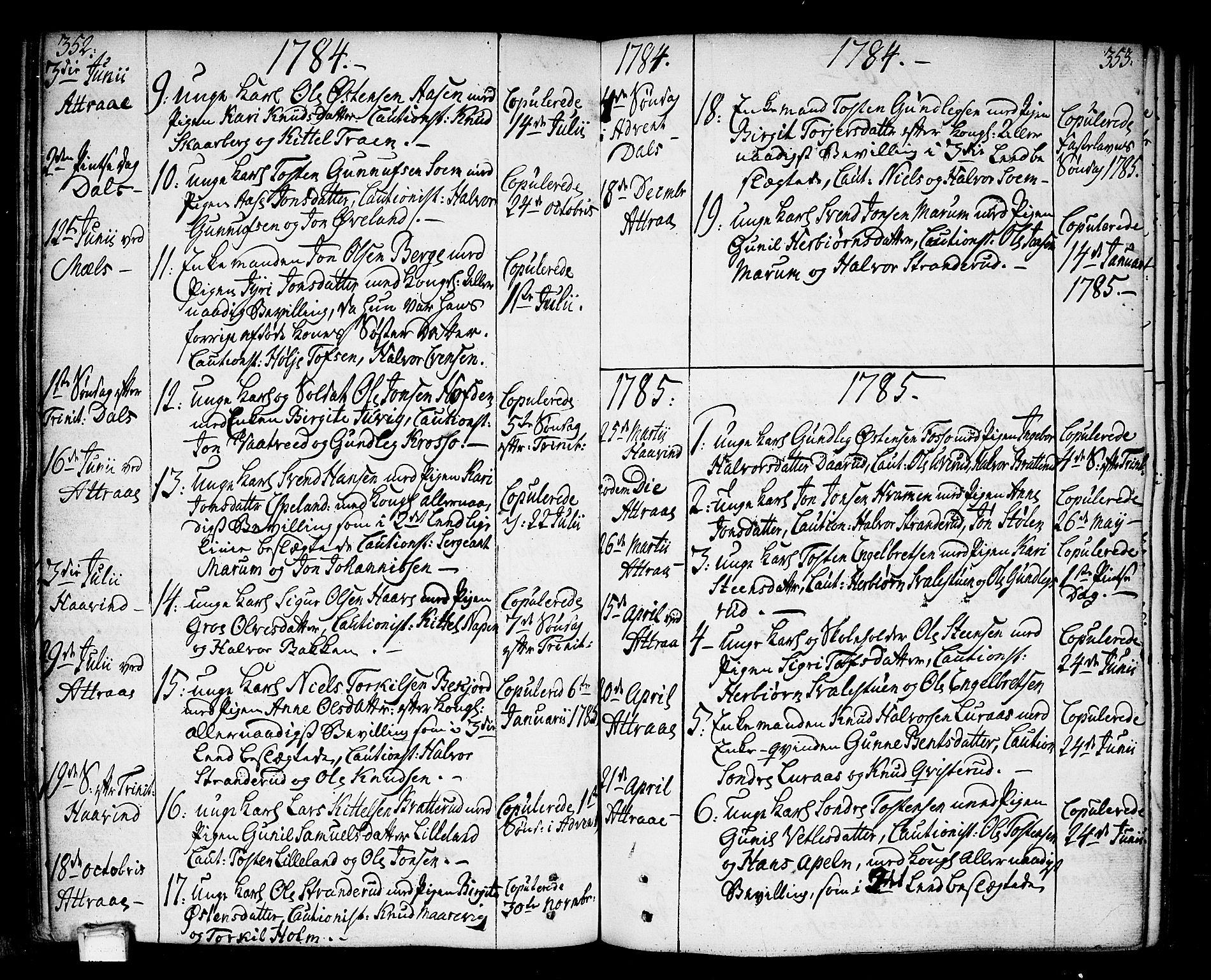 SAKO, Tinn kirkebøker, F/Fa/L0002: Ministerialbok nr. I 2, 1757-1810, s. 352-353