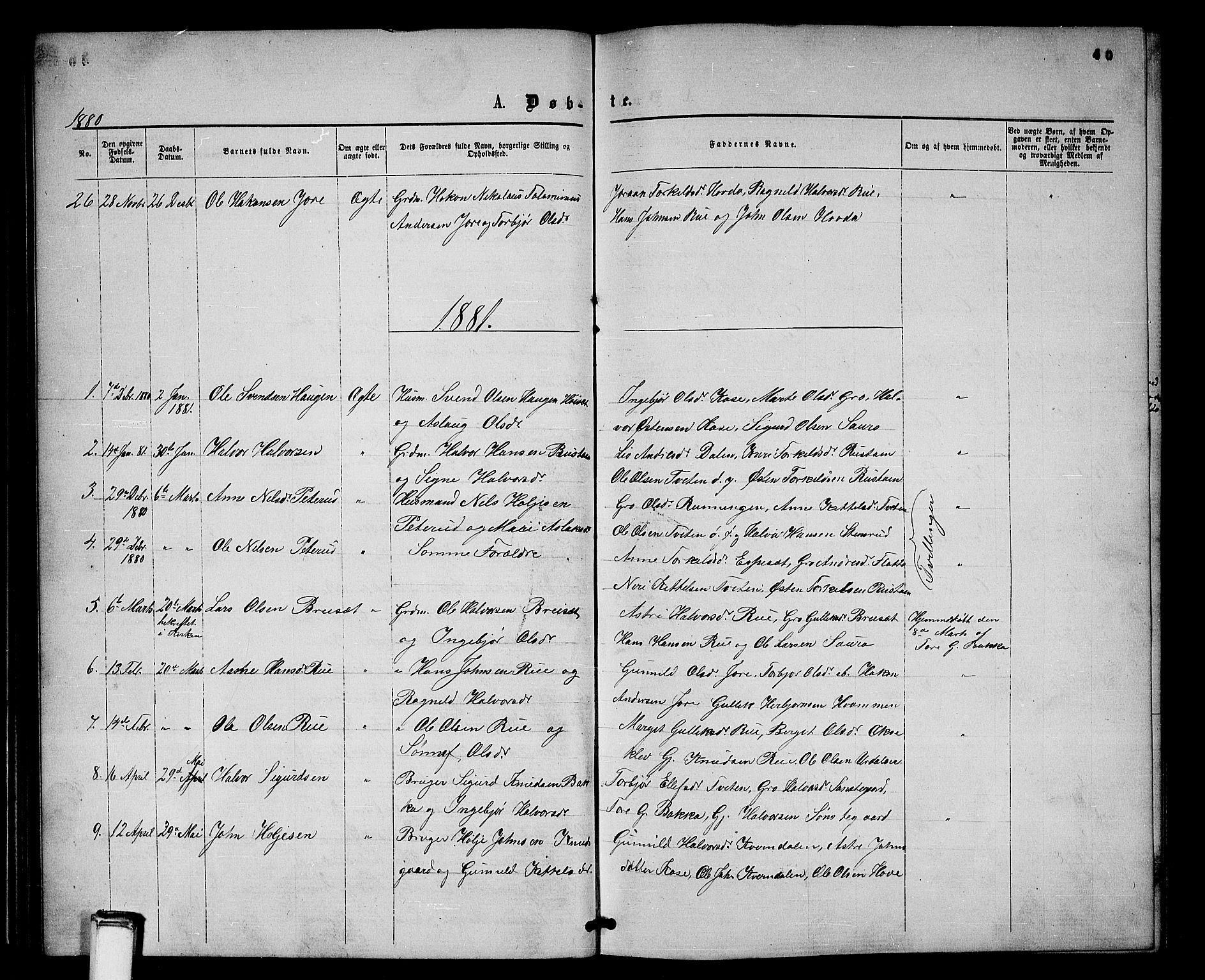 SAKO, Gransherad kirkebøker, G/Gb/L0002: Klokkerbok nr. II 2, 1860-1886, s. 40